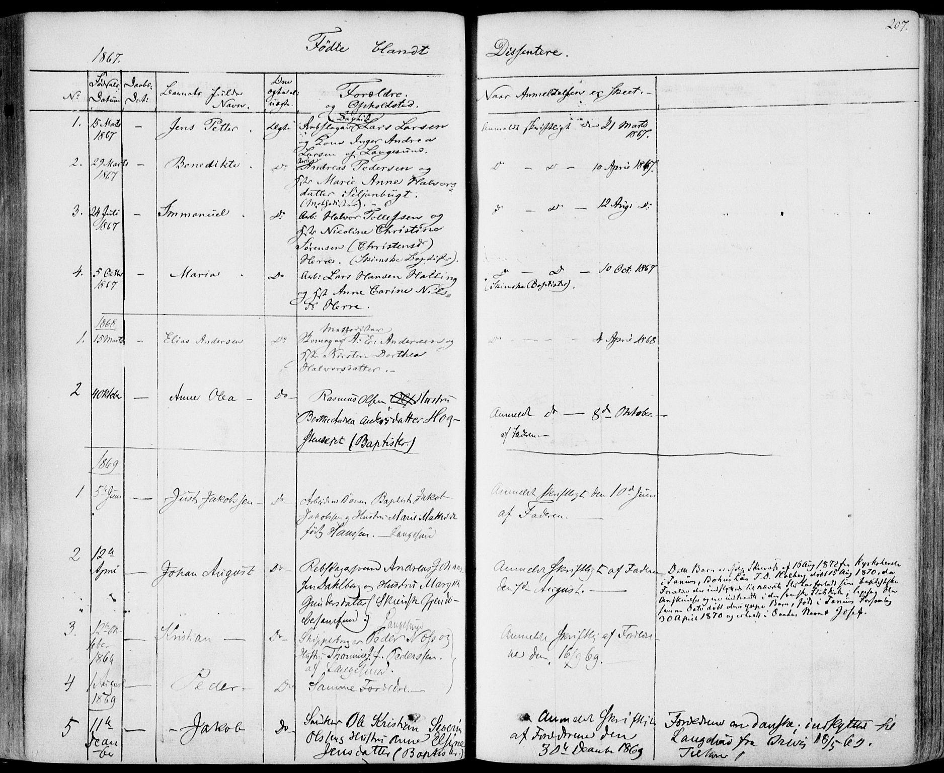 SAKO, Bamble kirkebøker, F/Fa/L0005: Ministerialbok nr. I 5, 1854-1869, s. 207