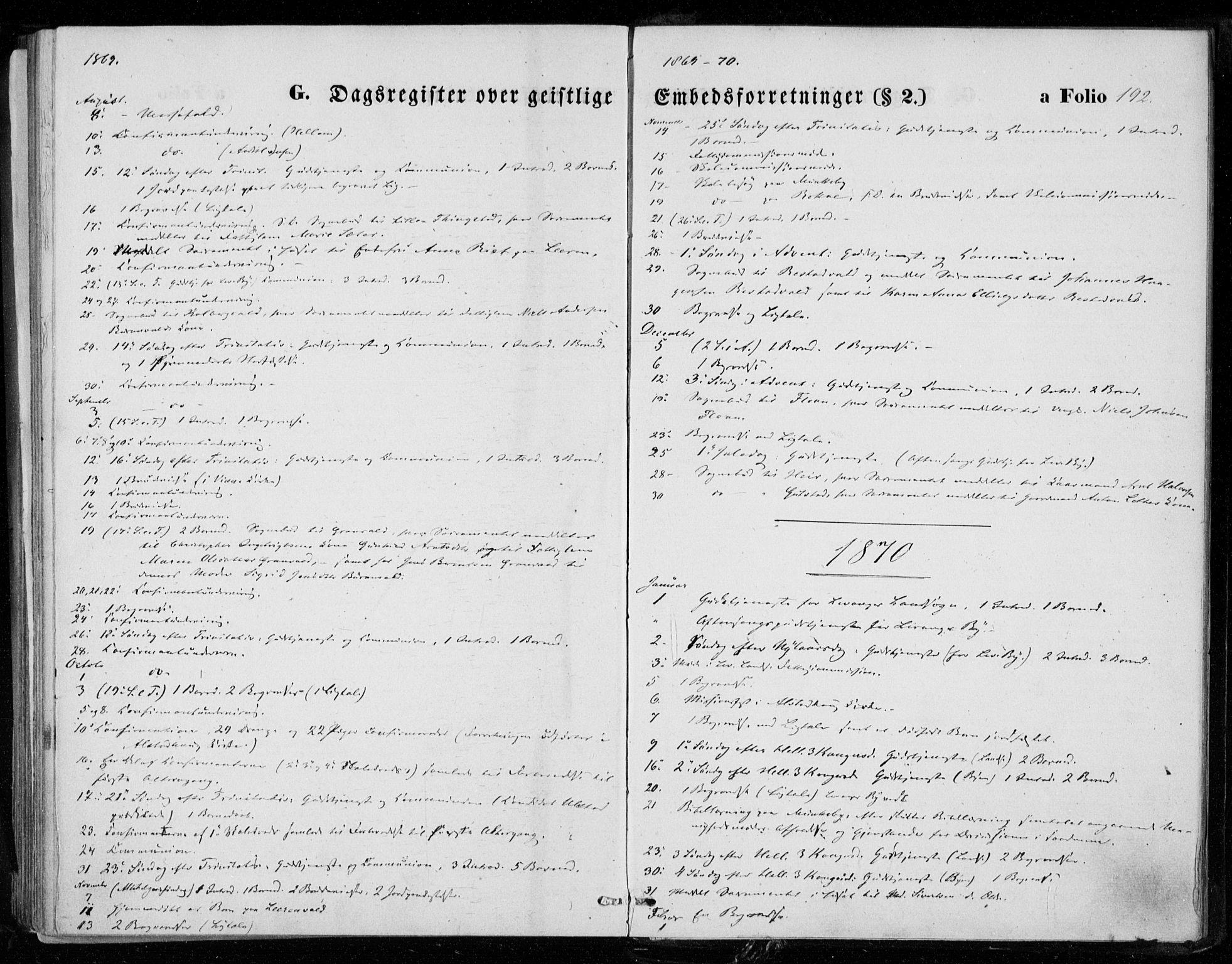 SAT, Ministerialprotokoller, klokkerbøker og fødselsregistre - Nord-Trøndelag, 721/L0206: Ministerialbok nr. 721A01, 1864-1874, s. 192