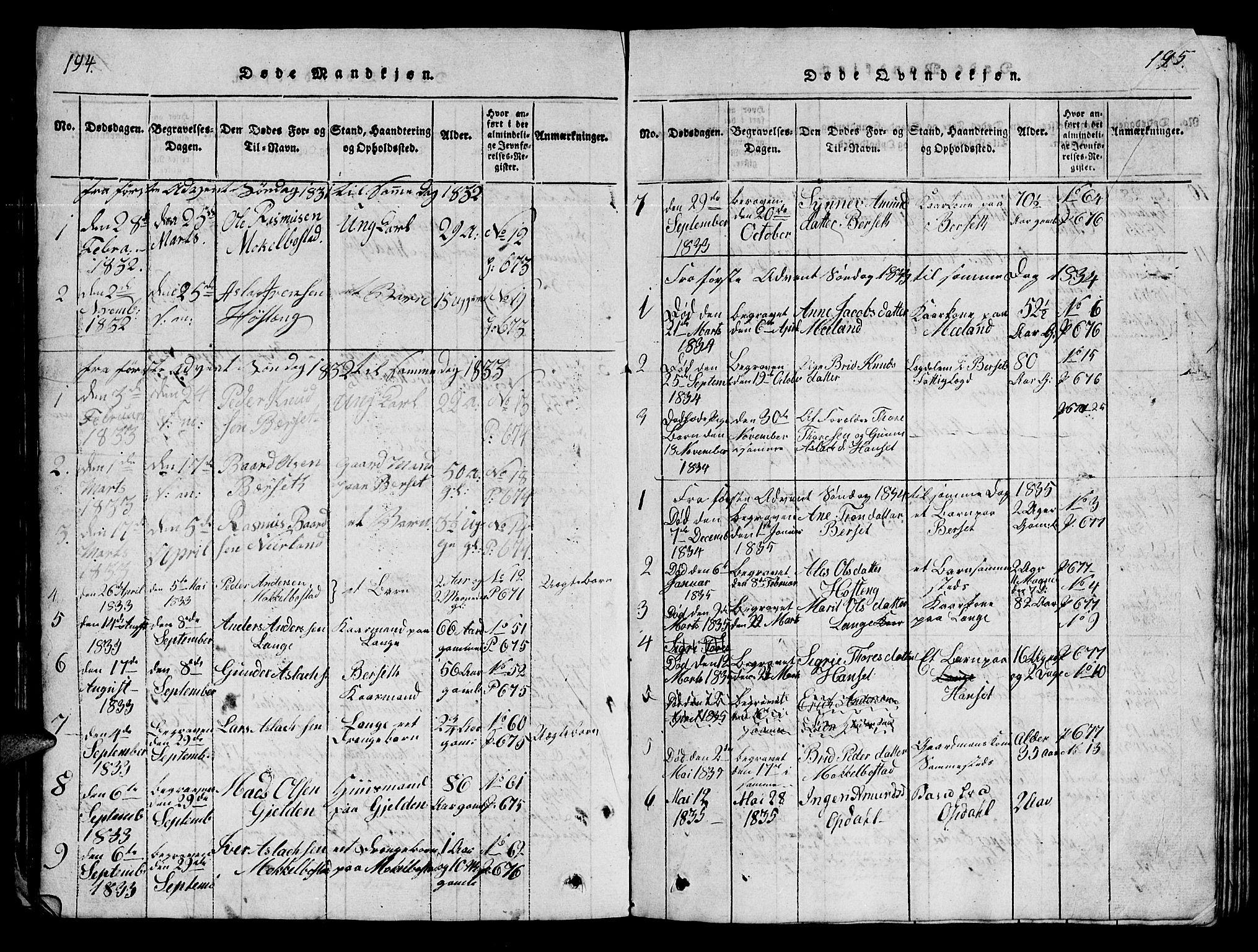 SAT, Ministerialprotokoller, klokkerbøker og fødselsregistre - Møre og Romsdal, 554/L0644: Klokkerbok nr. 554C01, 1818-1851, s. 194-195