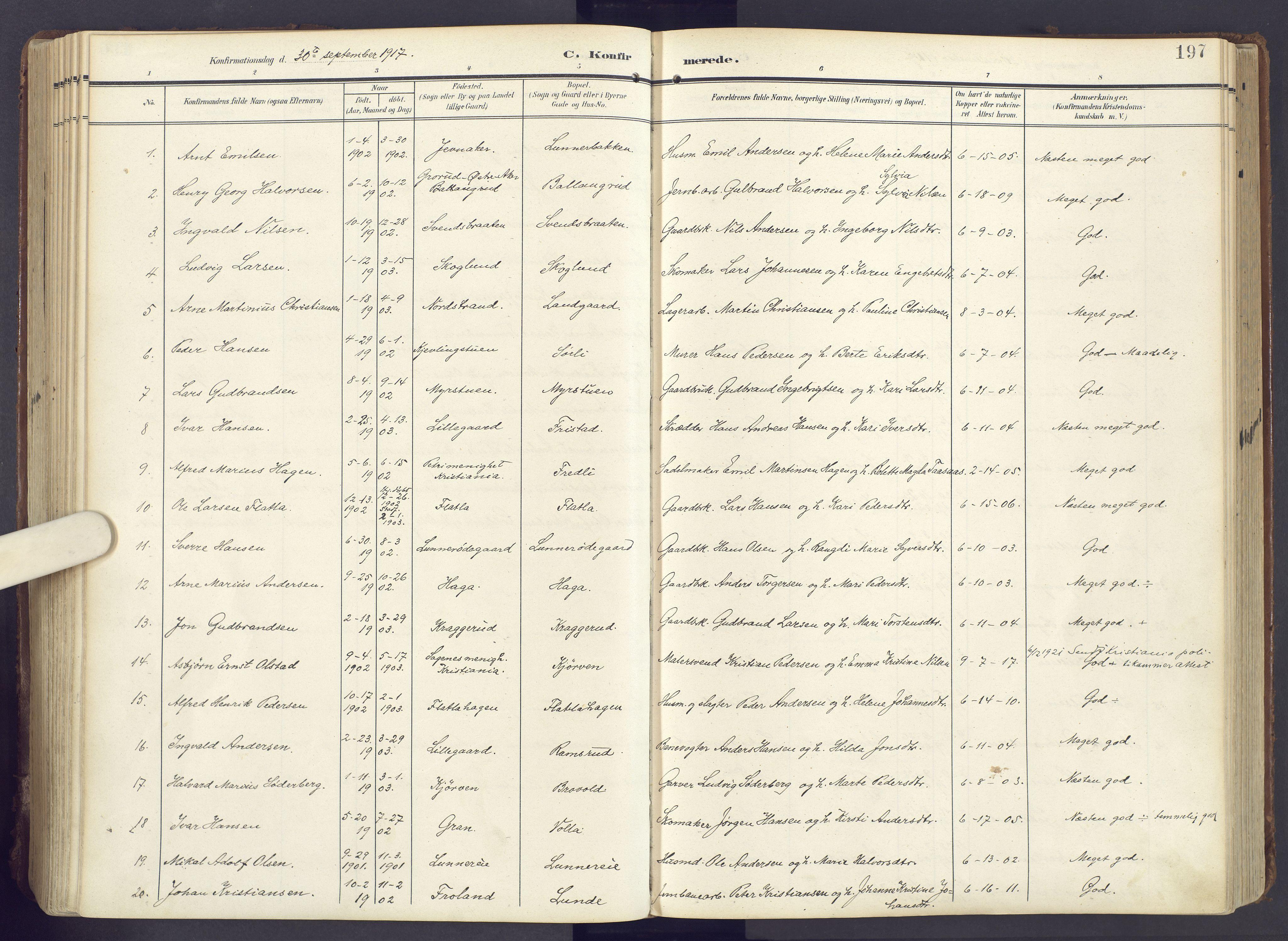 SAH, Lunner prestekontor, H/Ha/Haa/L0001: Ministerialbok nr. 1, 1907-1922, s. 197