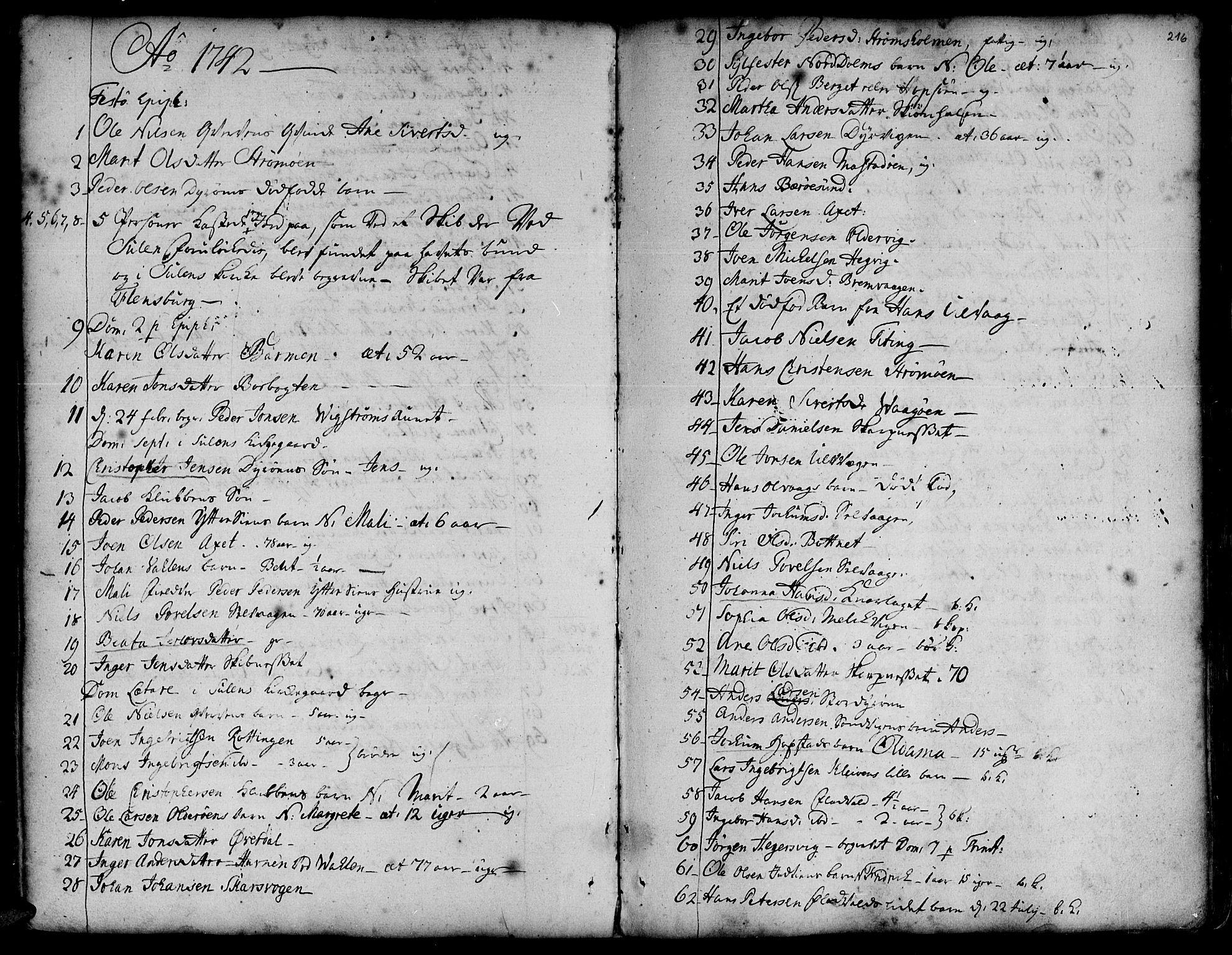 SAT, Ministerialprotokoller, klokkerbøker og fødselsregistre - Sør-Trøndelag, 634/L0525: Ministerialbok nr. 634A01, 1736-1775, s. 216