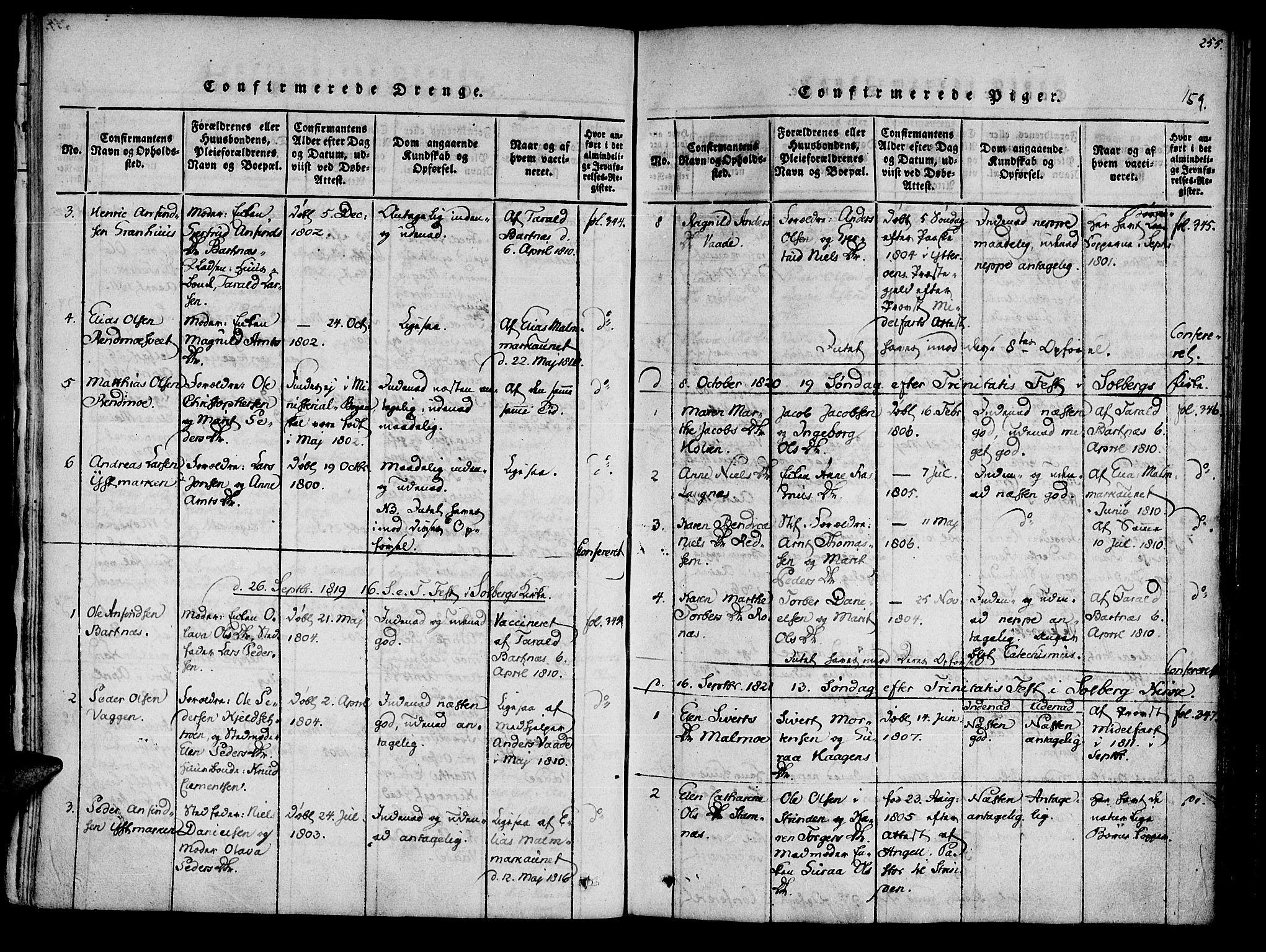 SAT, Ministerialprotokoller, klokkerbøker og fødselsregistre - Nord-Trøndelag, 741/L0387: Ministerialbok nr. 741A03 /2, 1817-1822, s. 159