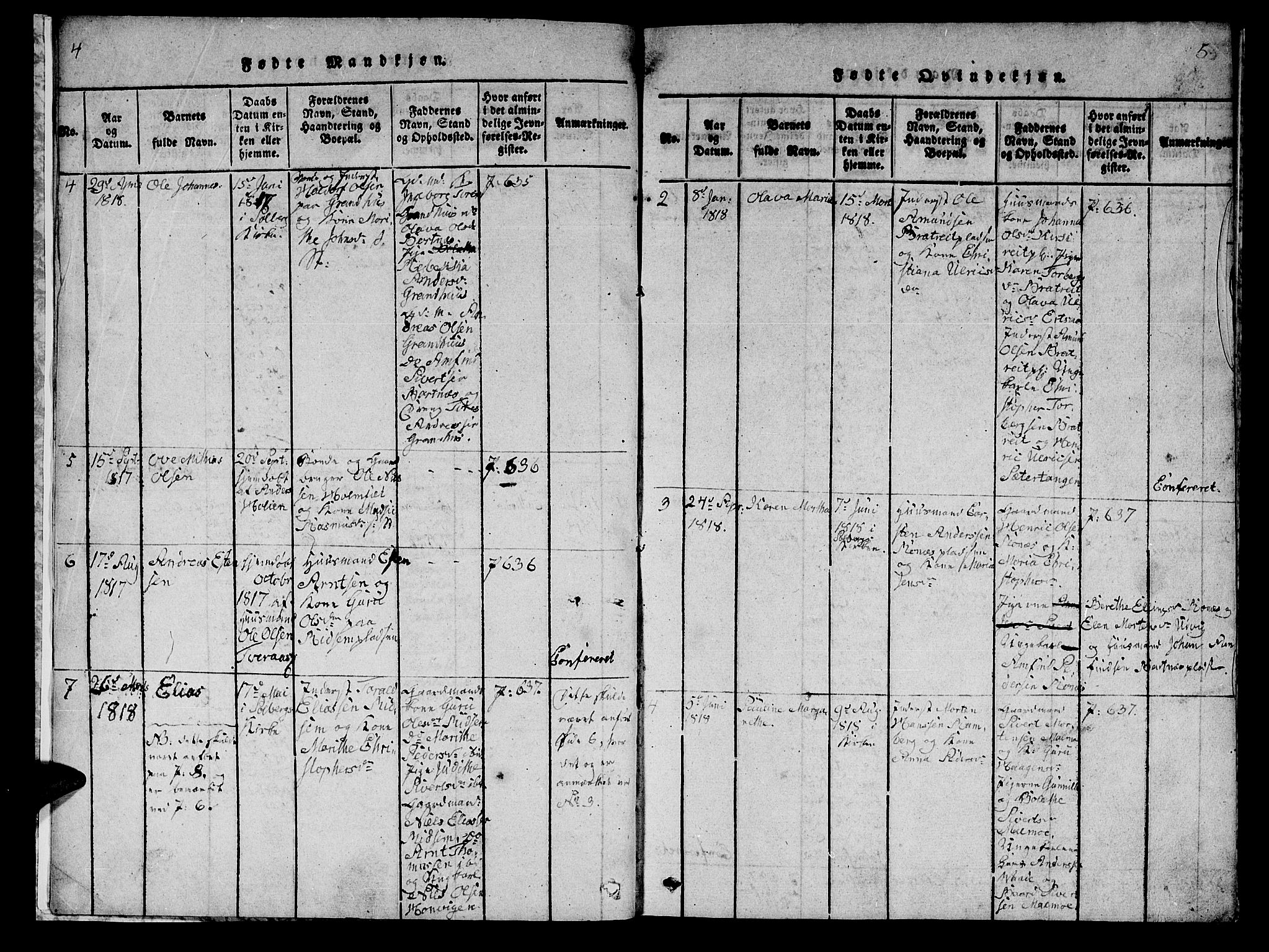 SAT, Ministerialprotokoller, klokkerbøker og fødselsregistre - Nord-Trøndelag, 745/L0433: Klokkerbok nr. 745C02, 1817-1825, s. 4-5