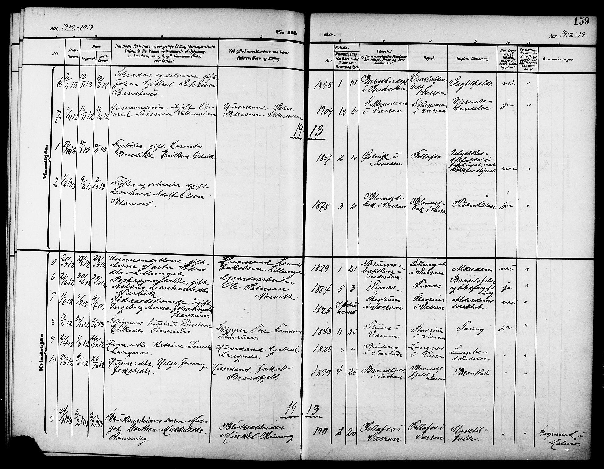 SAT, Ministerialprotokoller, klokkerbøker og fødselsregistre - Nord-Trøndelag, 744/L0424: Klokkerbok nr. 744C03, 1906-1923, s. 159