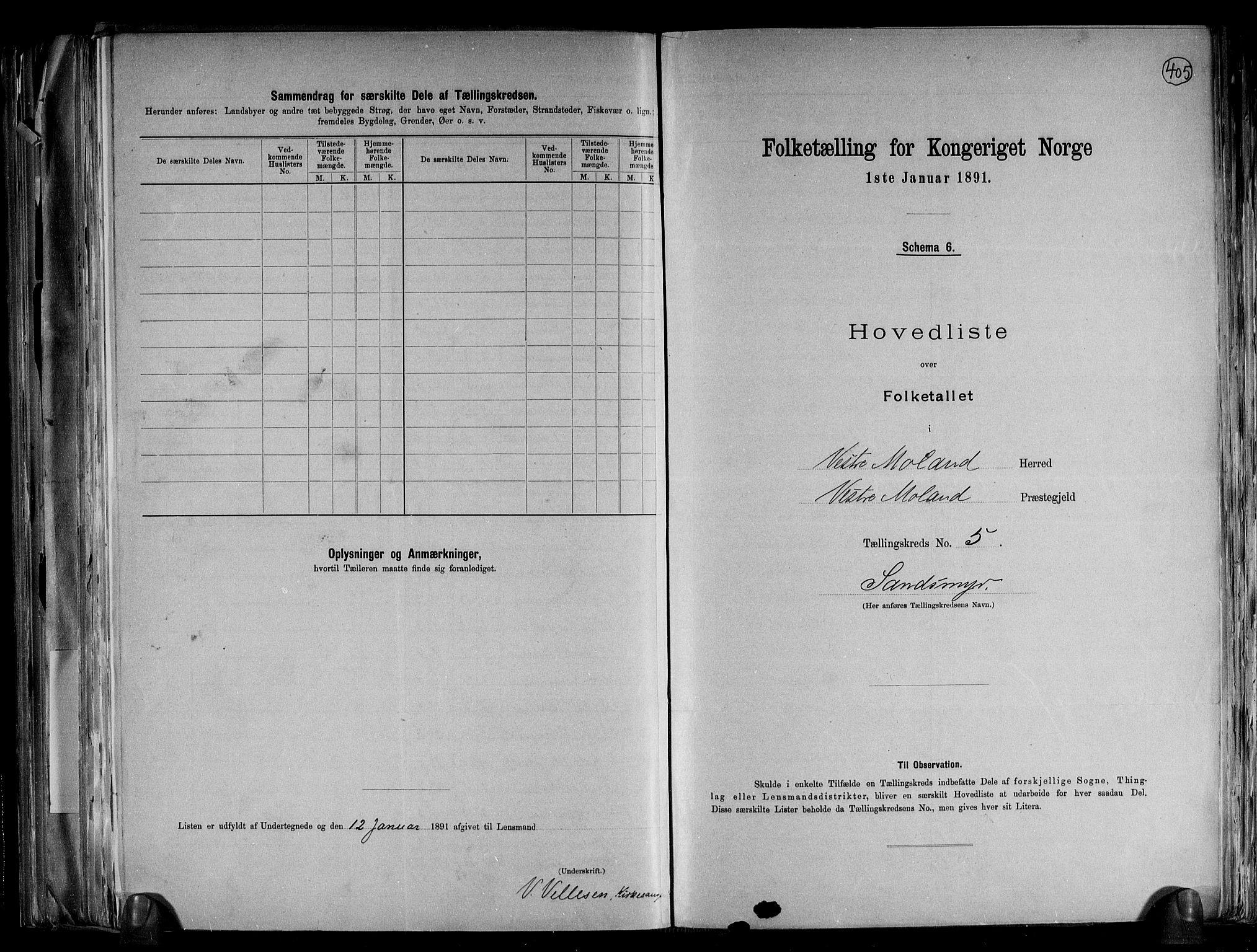 RA, Folketelling 1891 for 0926 Vestre Moland herred, 1891, s. 14