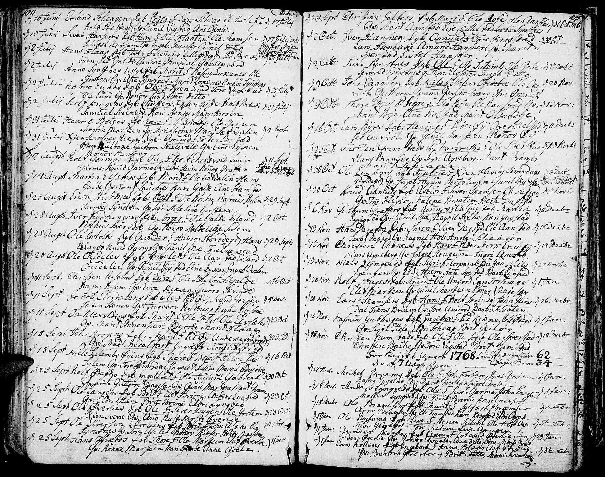 SAH, Lom prestekontor, K/L0002: Ministerialbok nr. 2, 1749-1801, s. 104-105