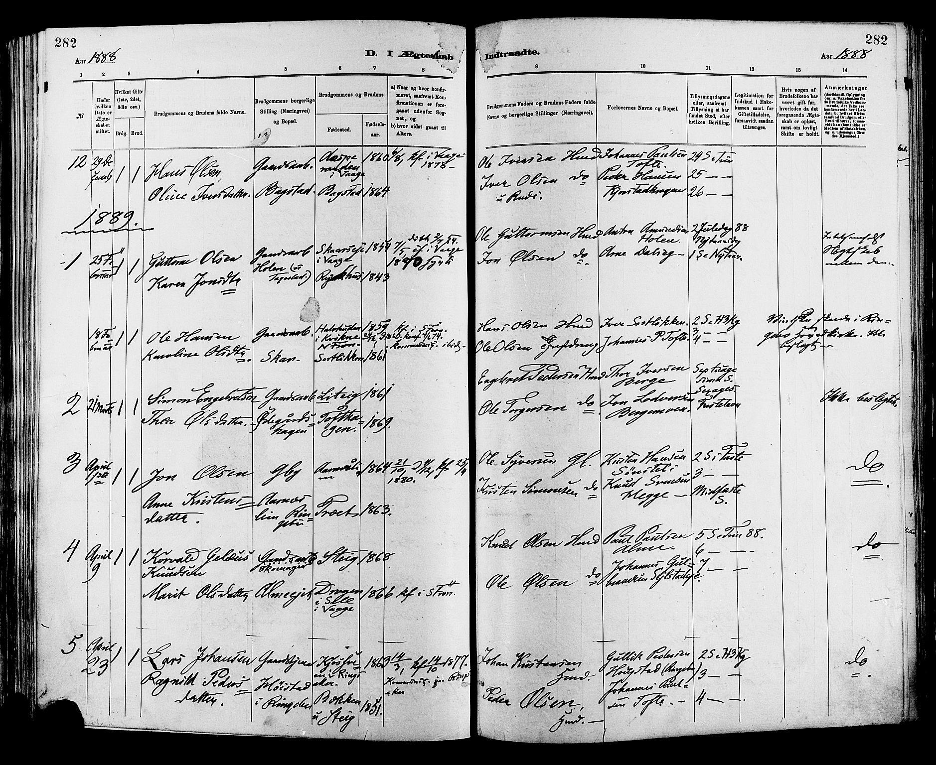 SAH, Sør-Fron prestekontor, H/Ha/Haa/L0003: Ministerialbok nr. 3, 1881-1897, s. 282