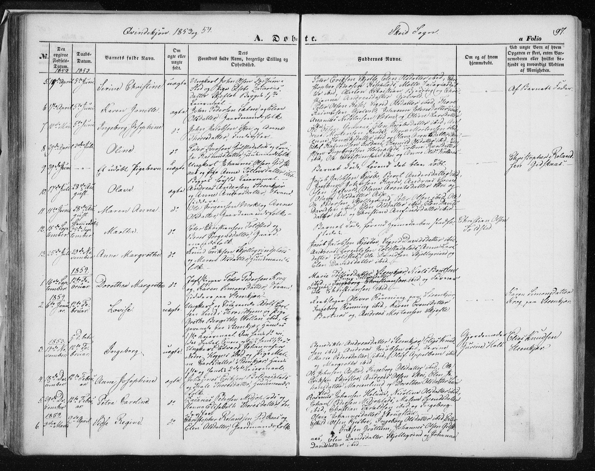 SAT, Ministerialprotokoller, klokkerbøker og fødselsregistre - Nord-Trøndelag, 735/L0342: Ministerialbok nr. 735A07 /2, 1849-1862, s. 97