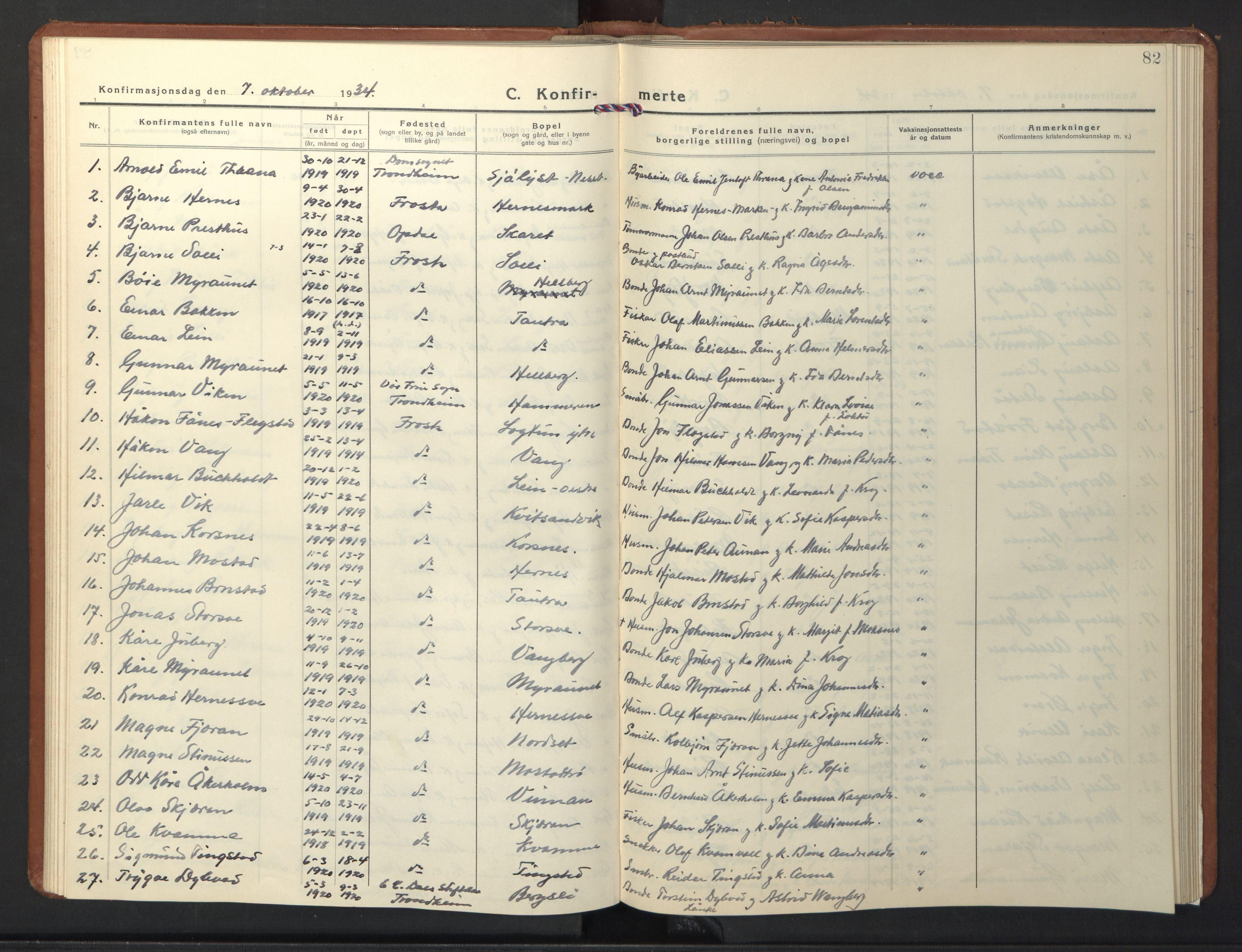 SAT, Ministerialprotokoller, klokkerbøker og fødselsregistre - Nord-Trøndelag, 713/L0125: Klokkerbok nr. 713C02, 1931-1941, s. 82