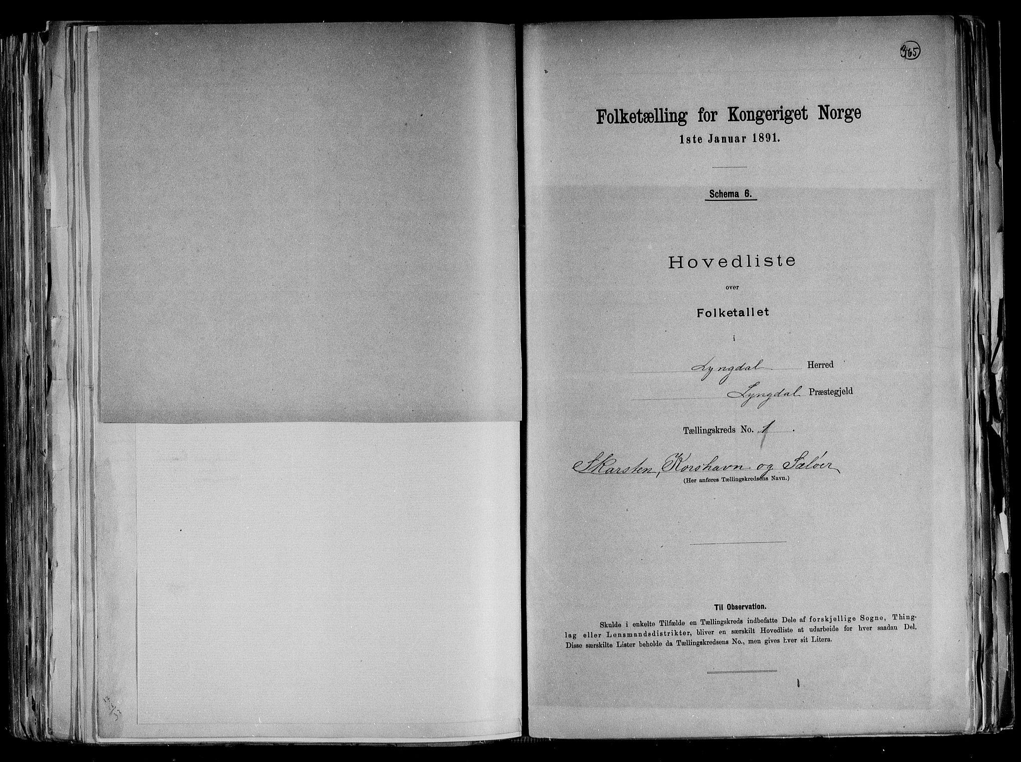 RA, Folketelling 1891 for 1032 Lyngdal herred, 1891, s. 7