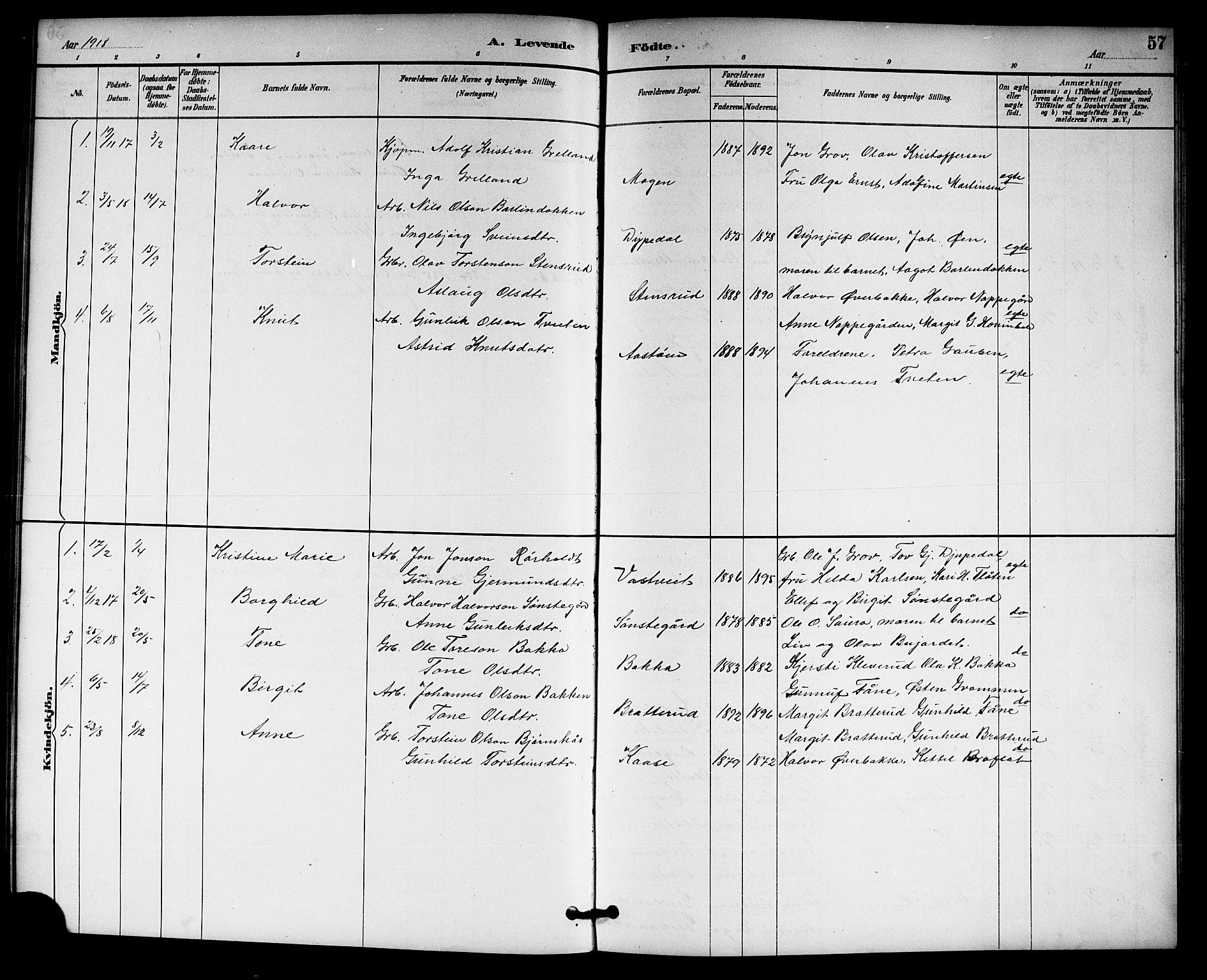 SAKO, Gransherad kirkebøker, G/Gb/L0003: Klokkerbok nr. II 3, 1887-1921, s. 57