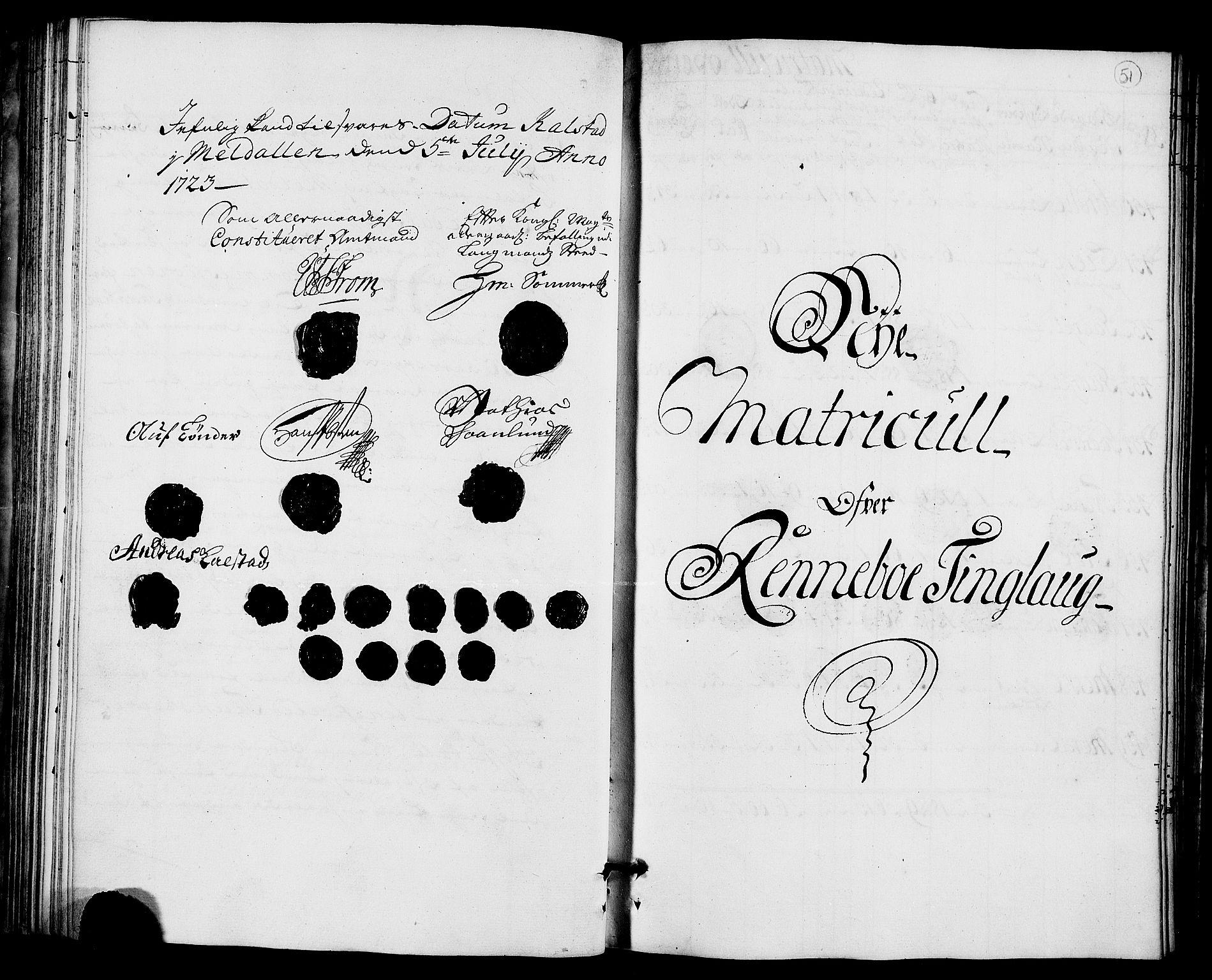 RA, Rentekammeret inntil 1814, Realistisk ordnet avdeling, N/Nb/Nbf/L0157: Orkdal matrikkelprotokoll, 1723, s. 50b-51a