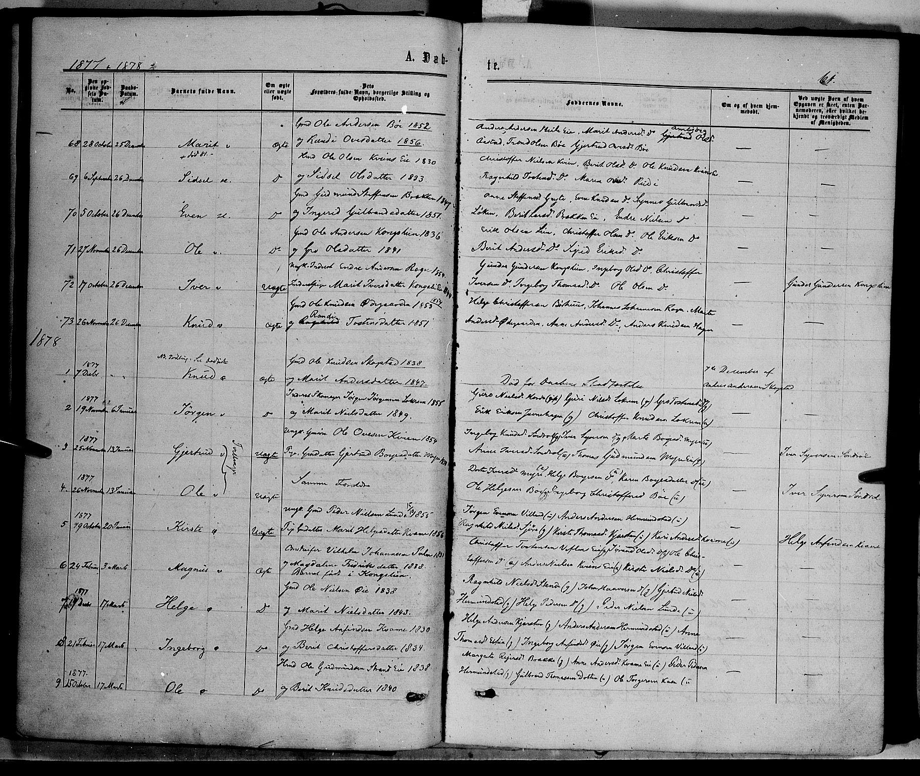 SAH, Vang prestekontor, Valdres, Ministerialbok nr. 7, 1865-1881, s. 61