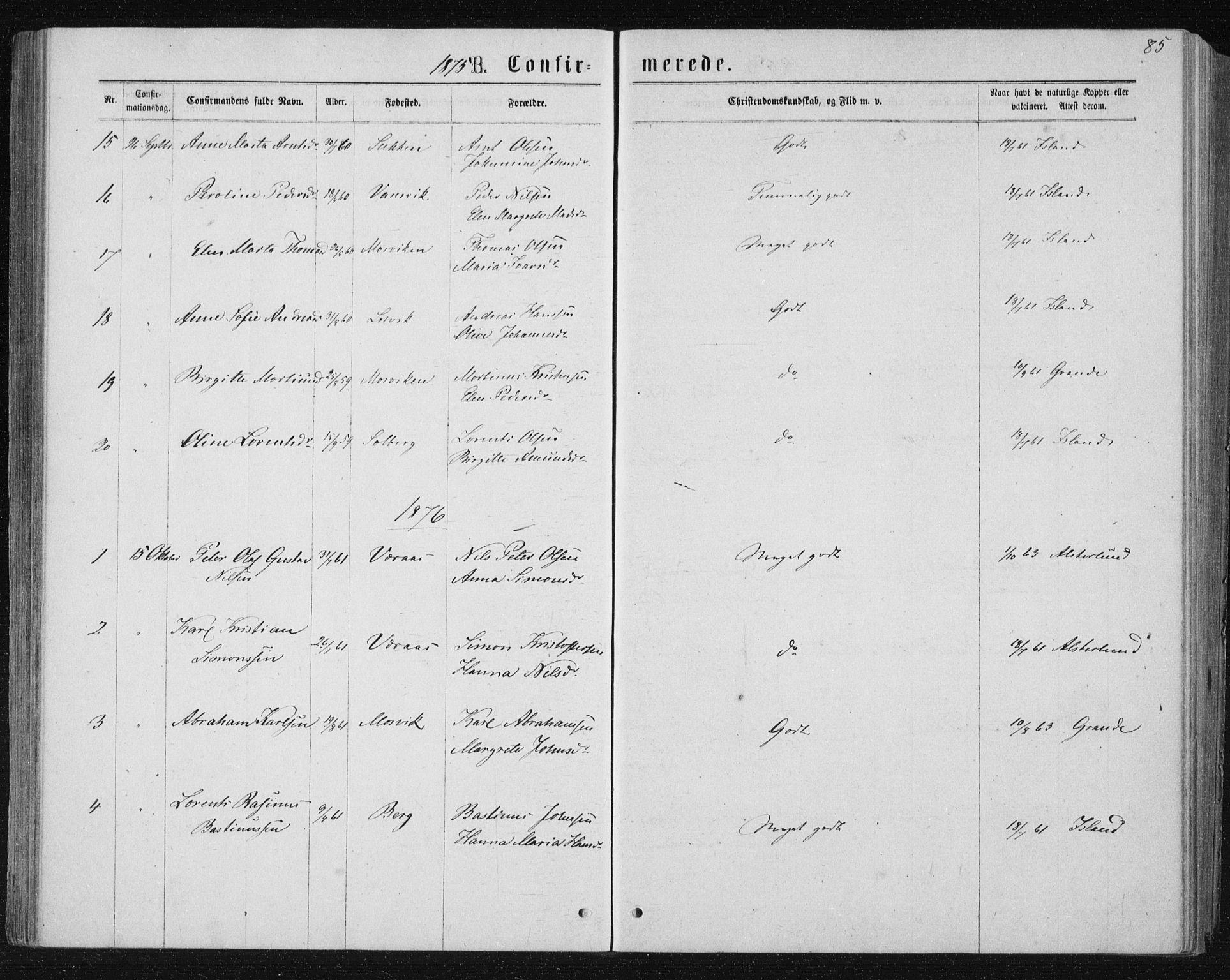 SAT, Ministerialprotokoller, klokkerbøker og fødselsregistre - Nord-Trøndelag, 722/L0219: Ministerialbok nr. 722A06, 1868-1880, s. 85
