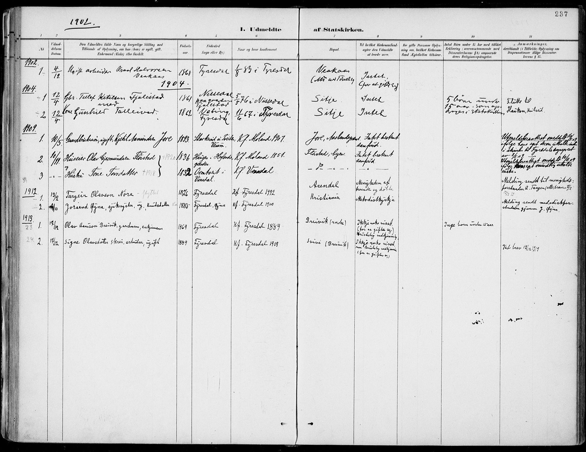 SAKO, Fyresdal kirkebøker, F/Fa/L0007: Ministerialbok nr. I 7, 1887-1914, s. 237