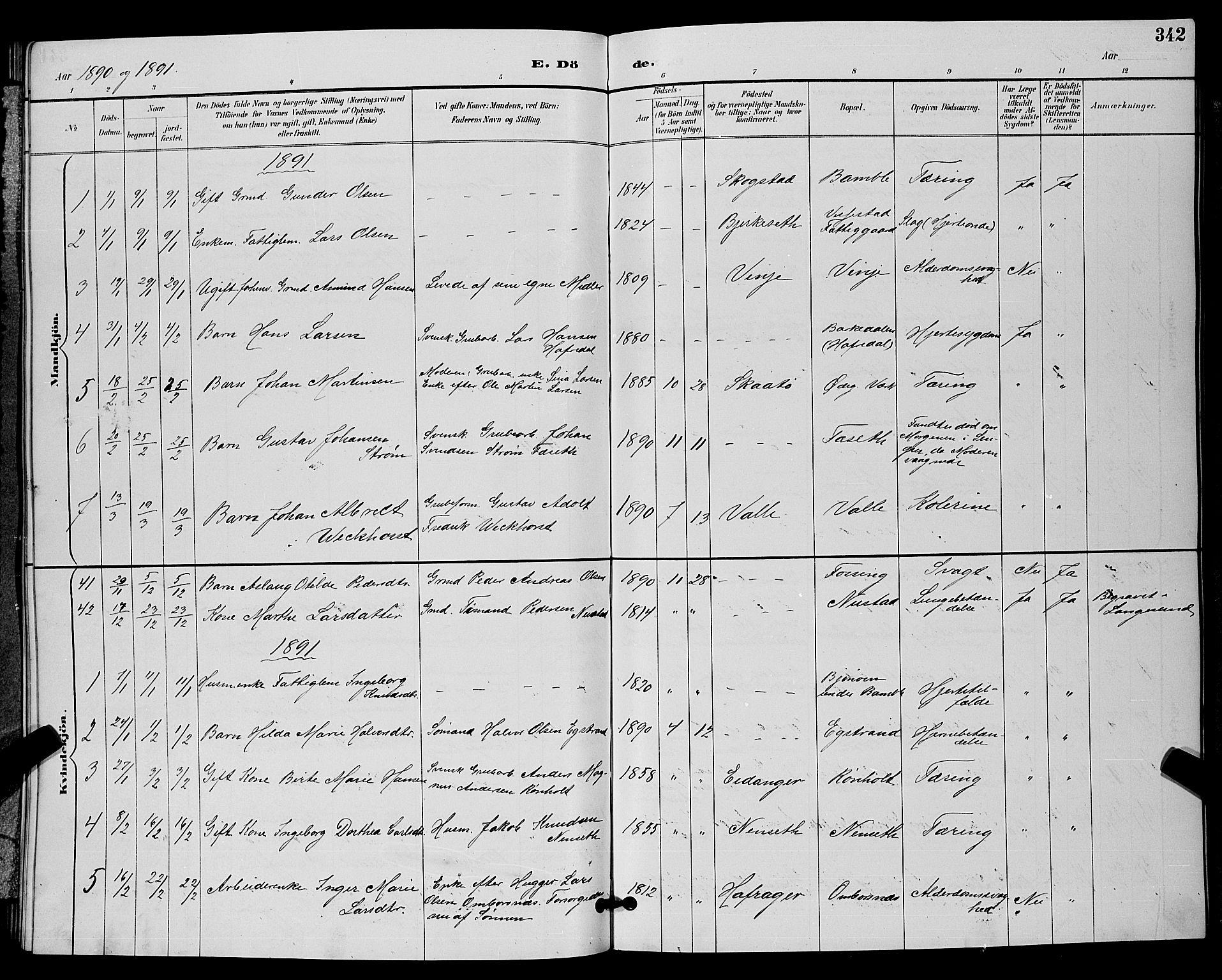 SAKO, Bamble kirkebøker, G/Ga/L0009: Klokkerbok nr. I 9, 1888-1900, s. 342