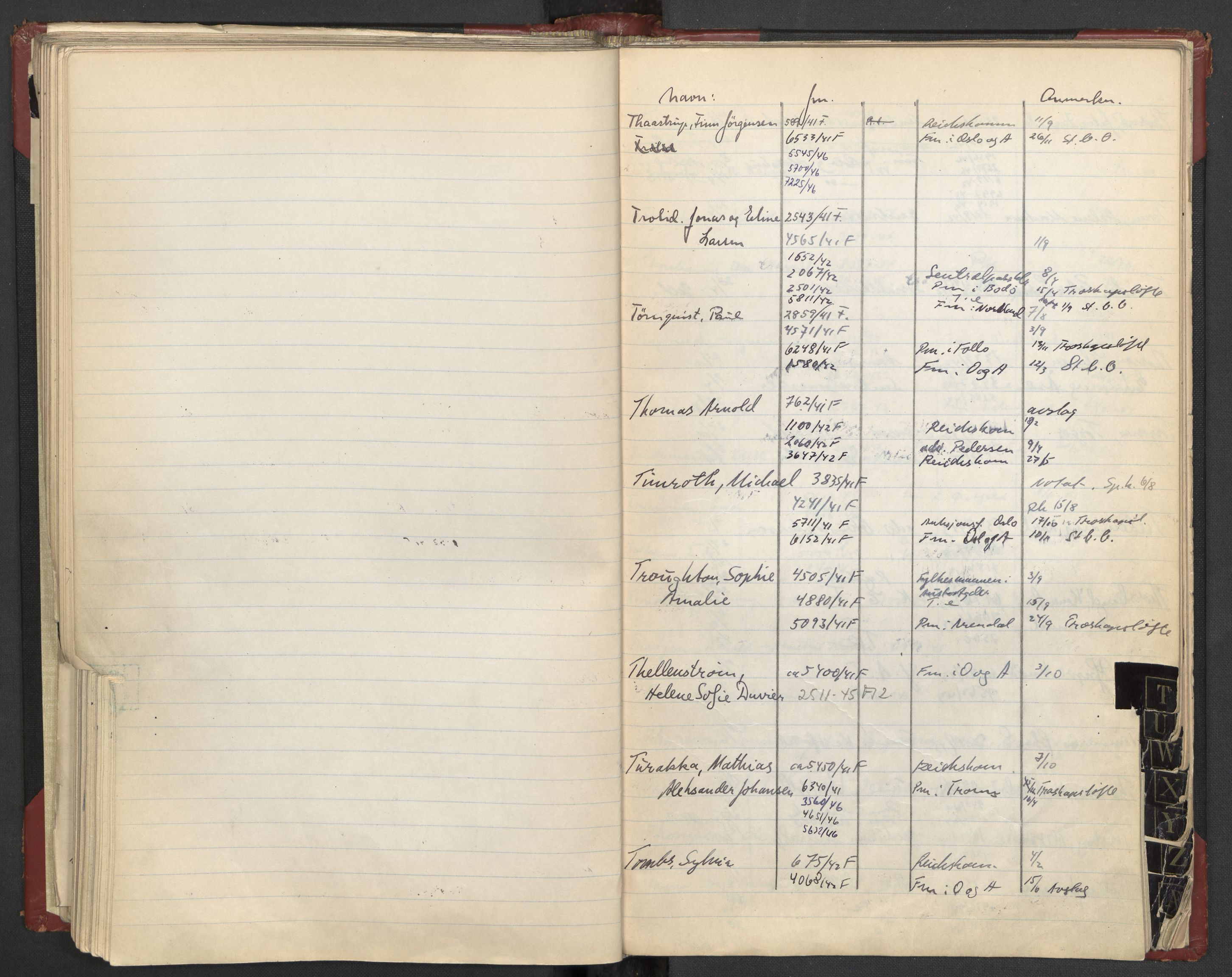 RA, Justisdepartementet, 3. politikontor P3, C/Cc/L0002: Journalregister over statsborgersaker, 1940-1946, s. 101