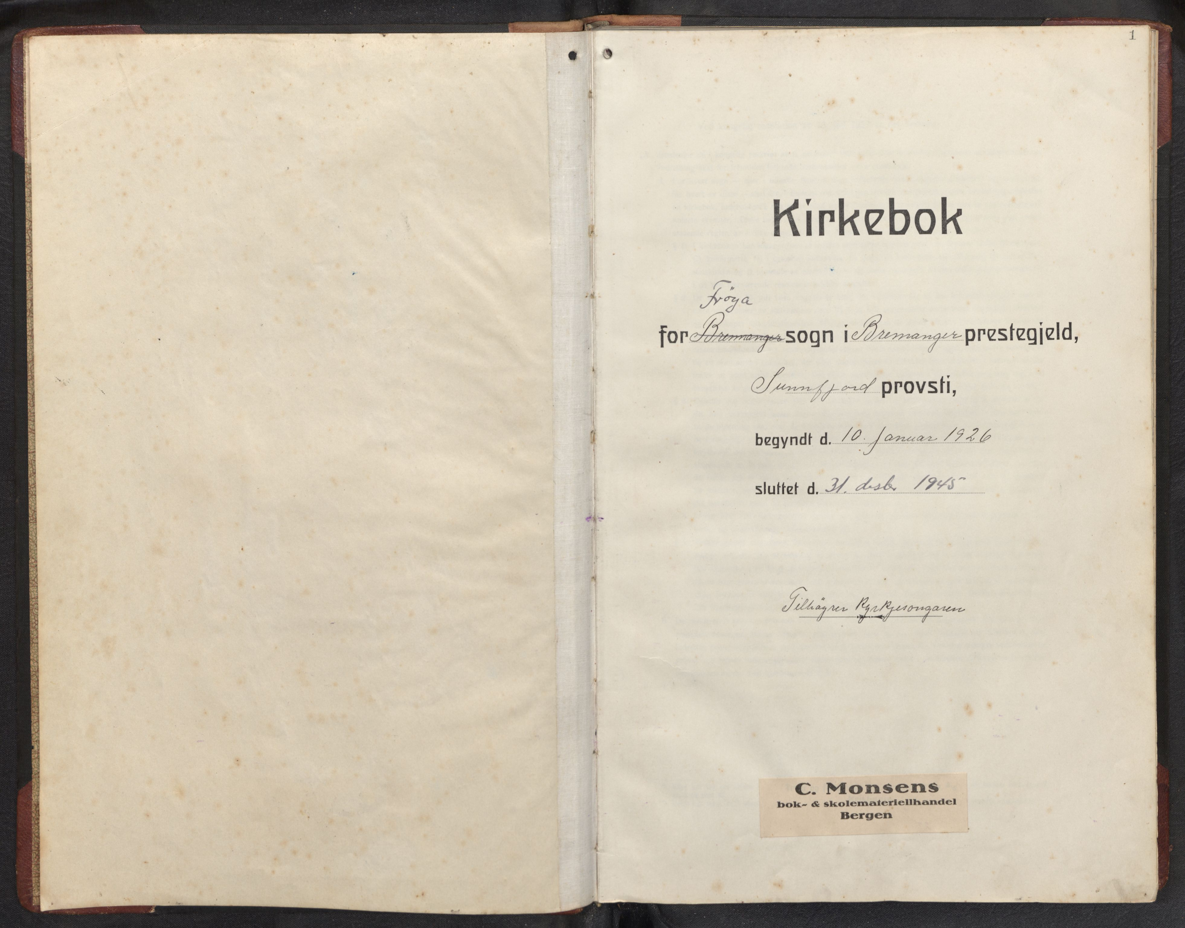 SAB, Bremanger Sokneprestembete, H/Hab: Klokkerbok nr. B 2, 1926-1945, s. 0b-1a