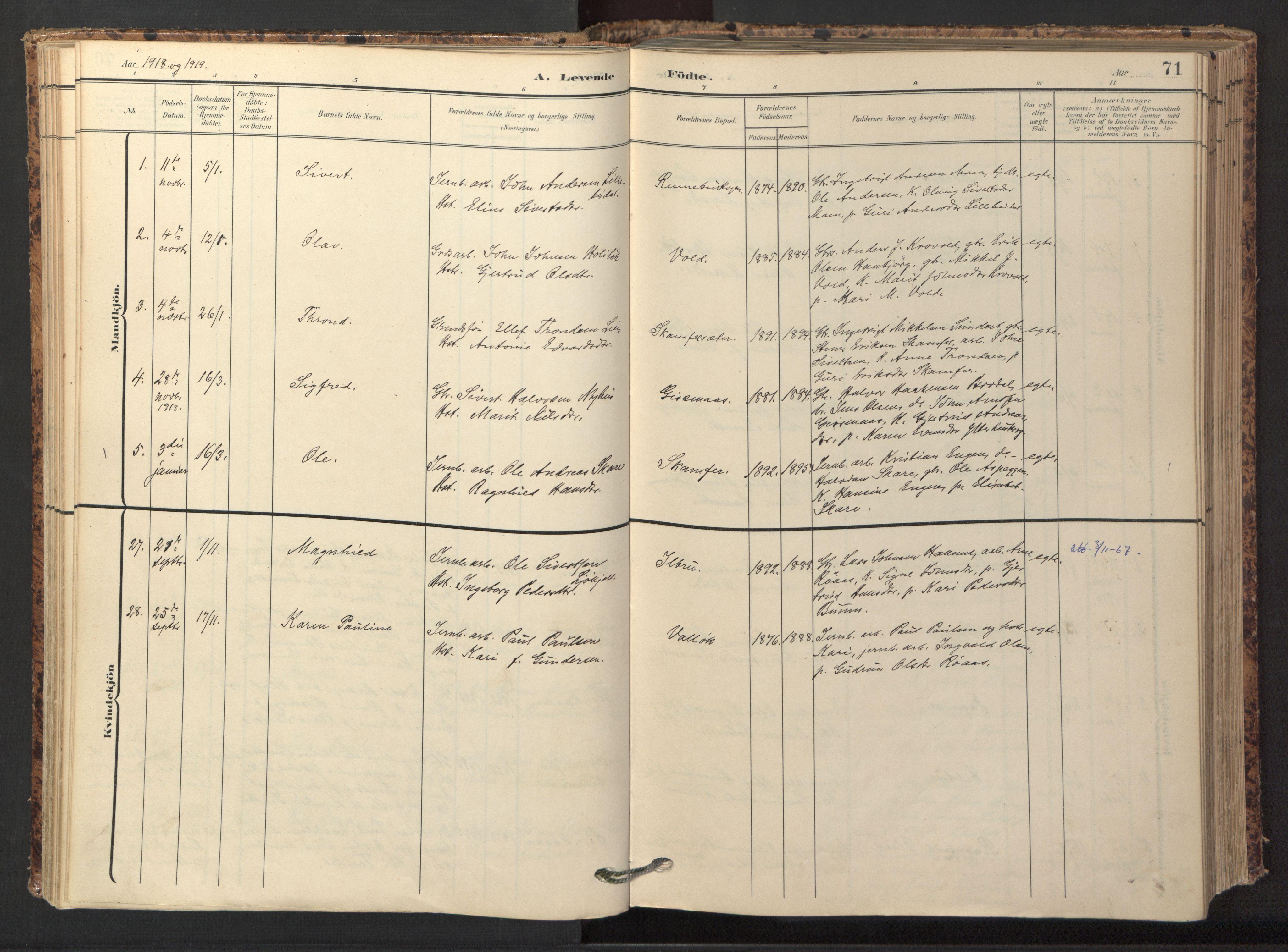 SAT, Ministerialprotokoller, klokkerbøker og fødselsregistre - Sør-Trøndelag, 674/L0873: Ministerialbok nr. 674A05, 1908-1923, s. 71