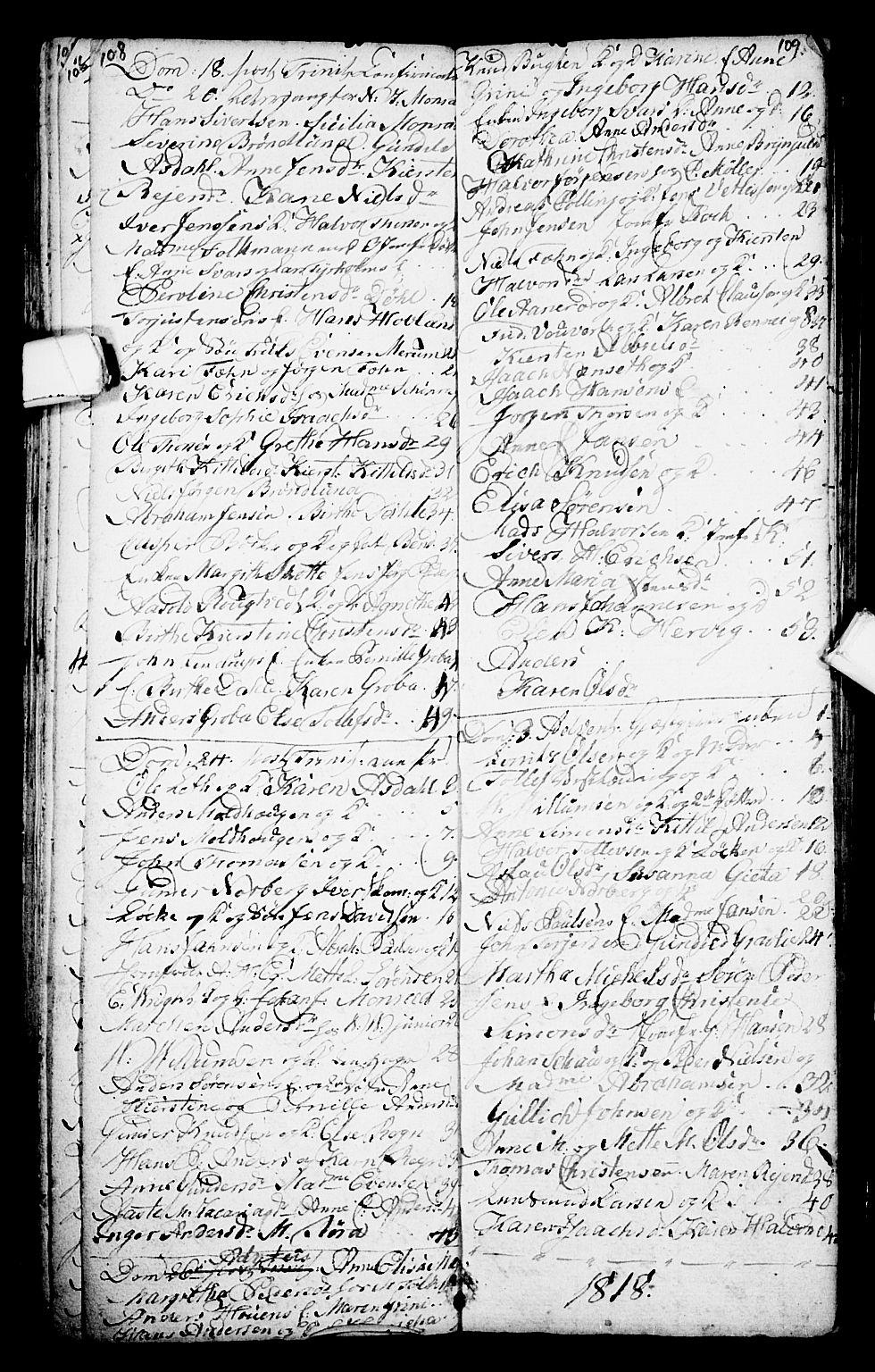 SAKO, Porsgrunn kirkebøker , G/Ga/L0001: Klokkerbok nr. I 1, 1766-1790, s. 108-109