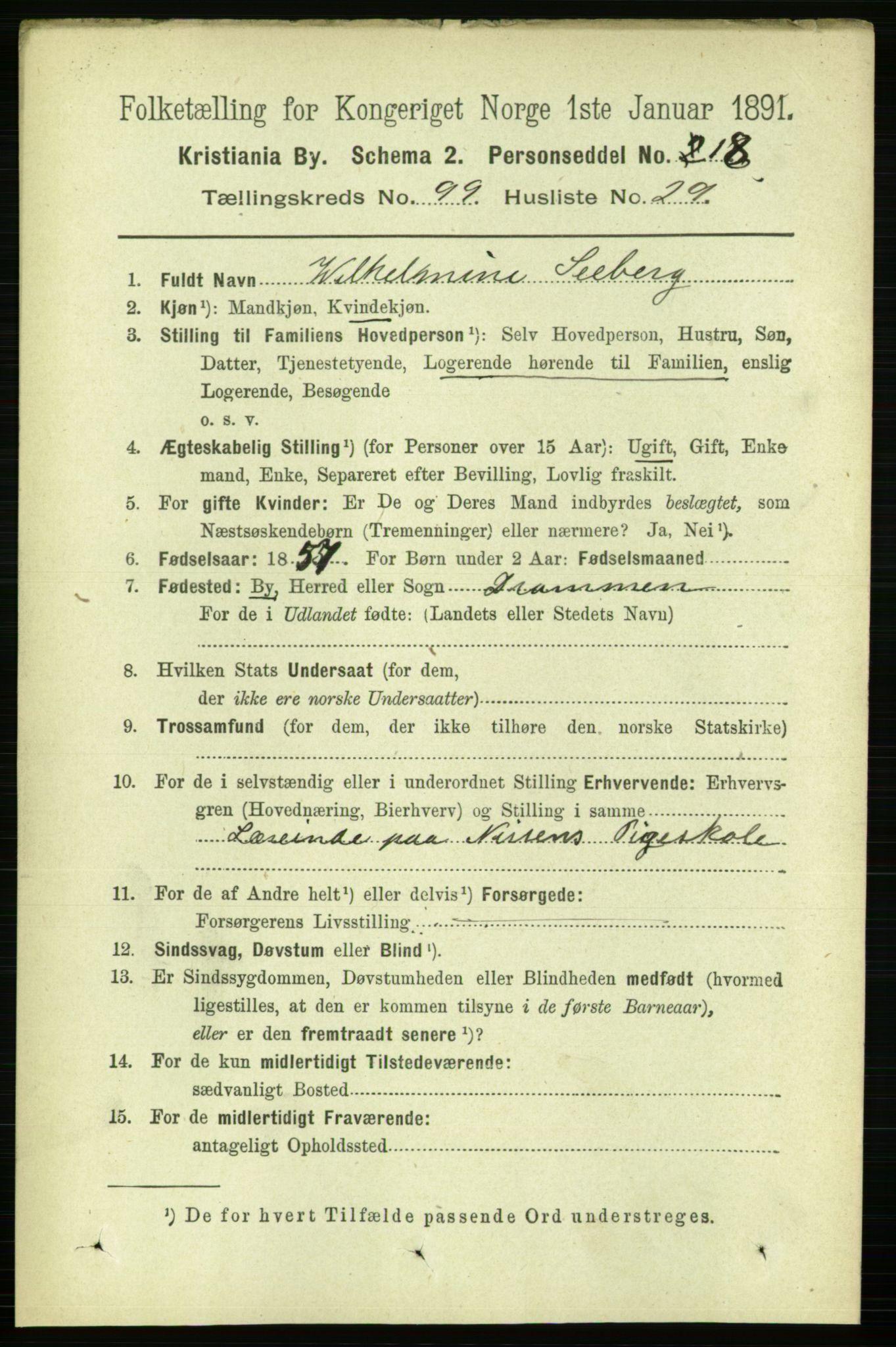 RA, Folketelling 1891 for 0301 Kristiania kjøpstad, 1891, s. 49091