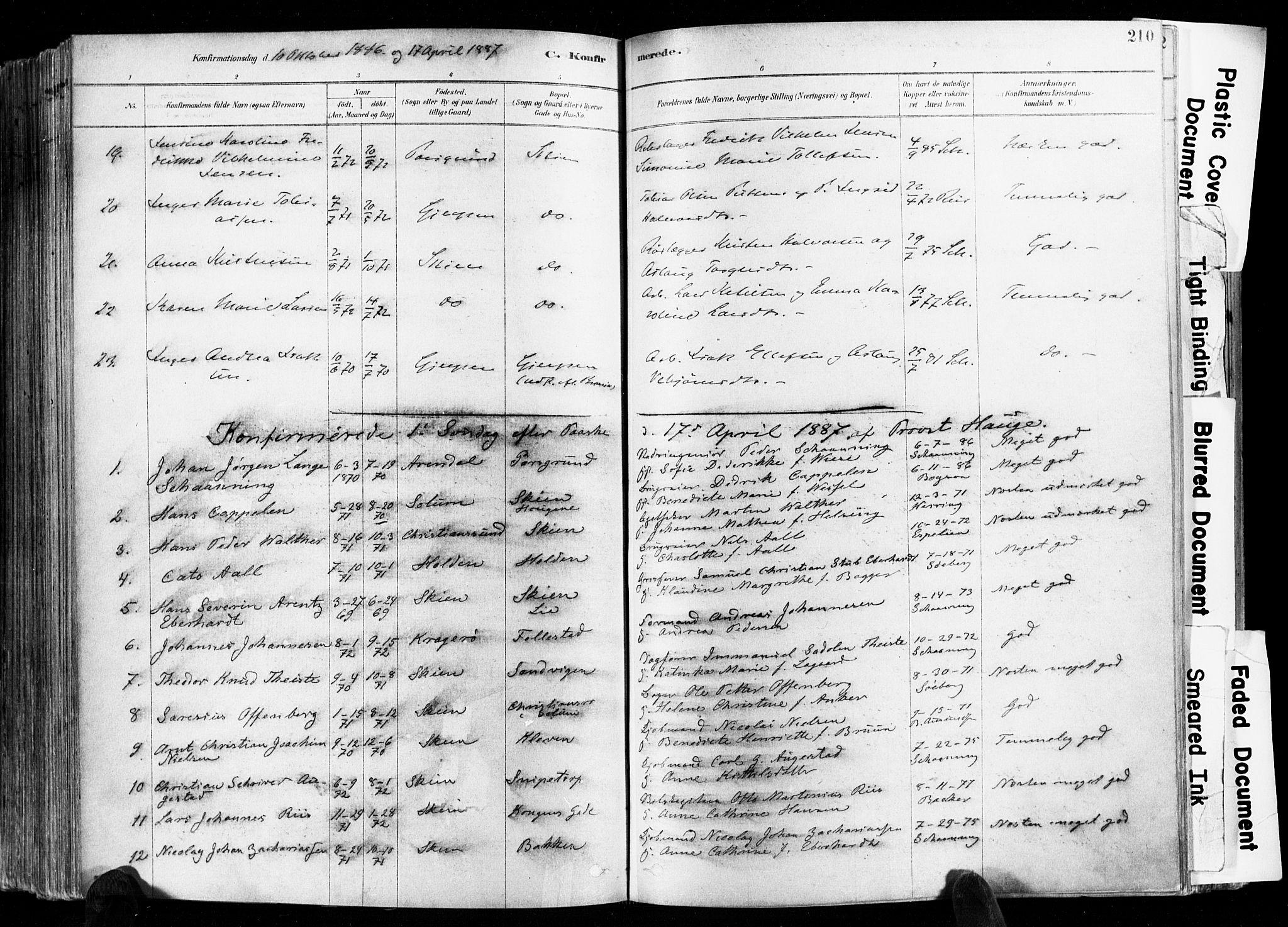 SAKO, Skien kirkebøker, F/Fa/L0009: Ministerialbok nr. 9, 1878-1890, s. 210