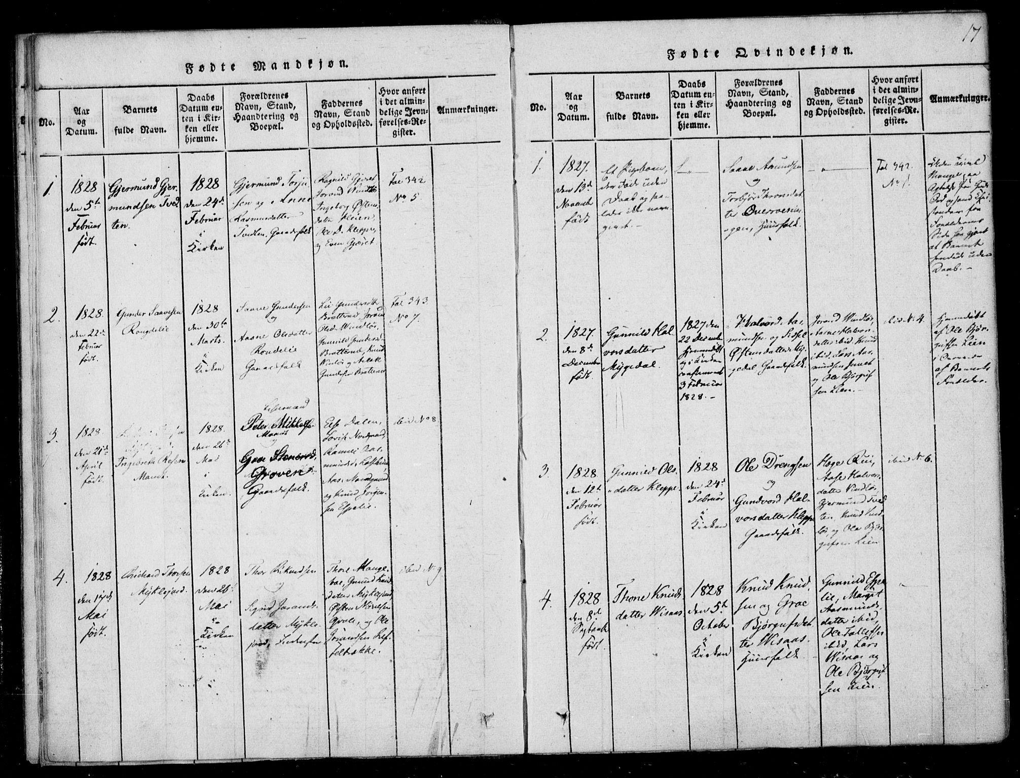SAKO, Lårdal kirkebøker, F/Fb/L0001: Ministerialbok nr. II 1, 1815-1860, s. 17