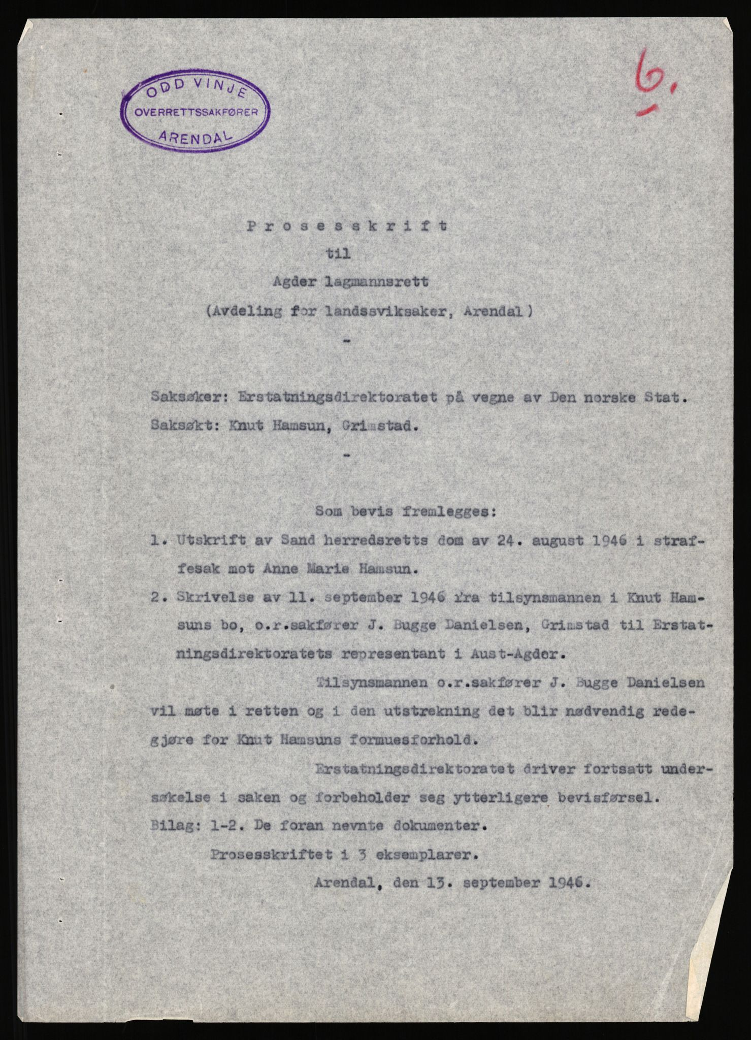 RA, Landssvikarkivet, Arendal politikammer, D/Dc/L0029: Anr. 192/45, 1945-1951, s. 692