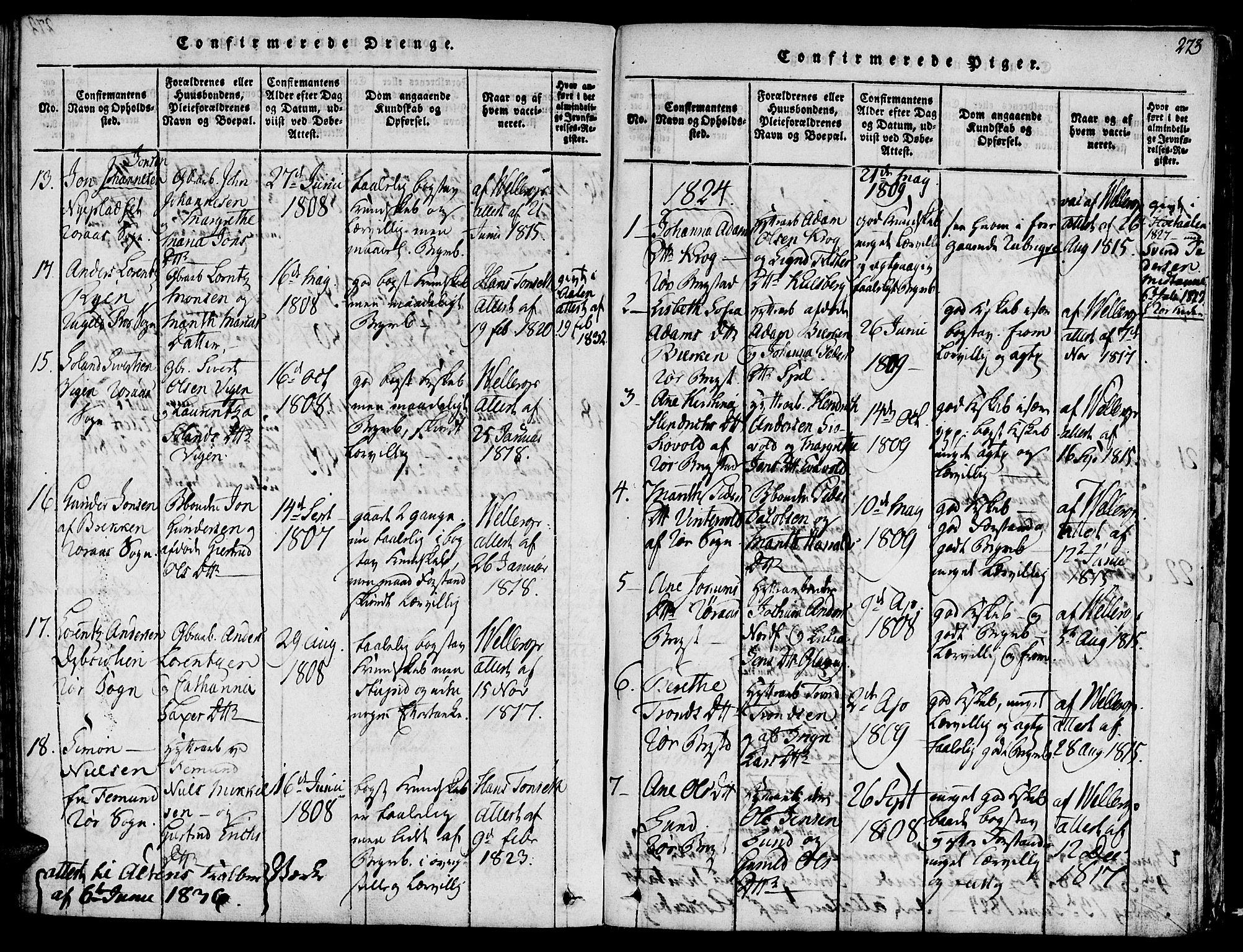 SAT, Ministerialprotokoller, klokkerbøker og fødselsregistre - Sør-Trøndelag, 681/L0929: Ministerialbok nr. 681A07, 1817-1828, s. 273