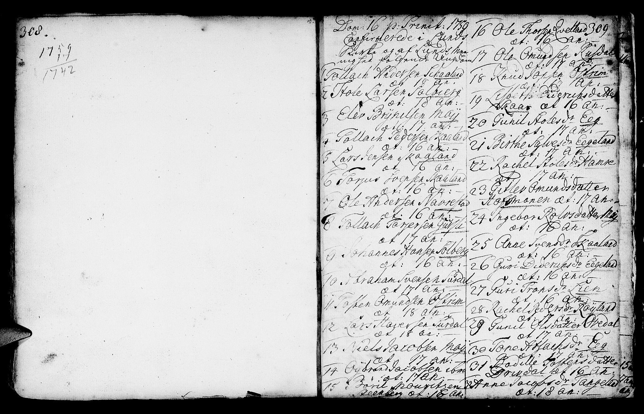 SAST, Lund sokneprestkontor, Ministerialbok nr. A 2, 1738-1760, s. 308-309