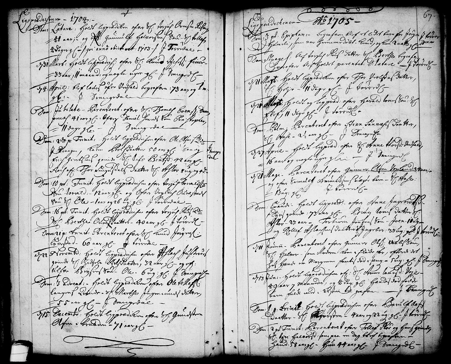 SAKO, Drangedal kirkebøker, F/Fa/L0001: Ministerialbok nr. 1, 1697-1767, s. 67