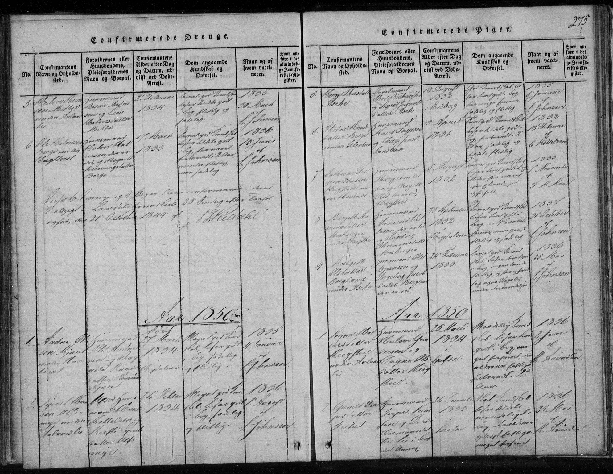 SAKO, Lårdal kirkebøker, F/Fa/L0005: Ministerialbok nr. I 5, 1815-1860, s. 275