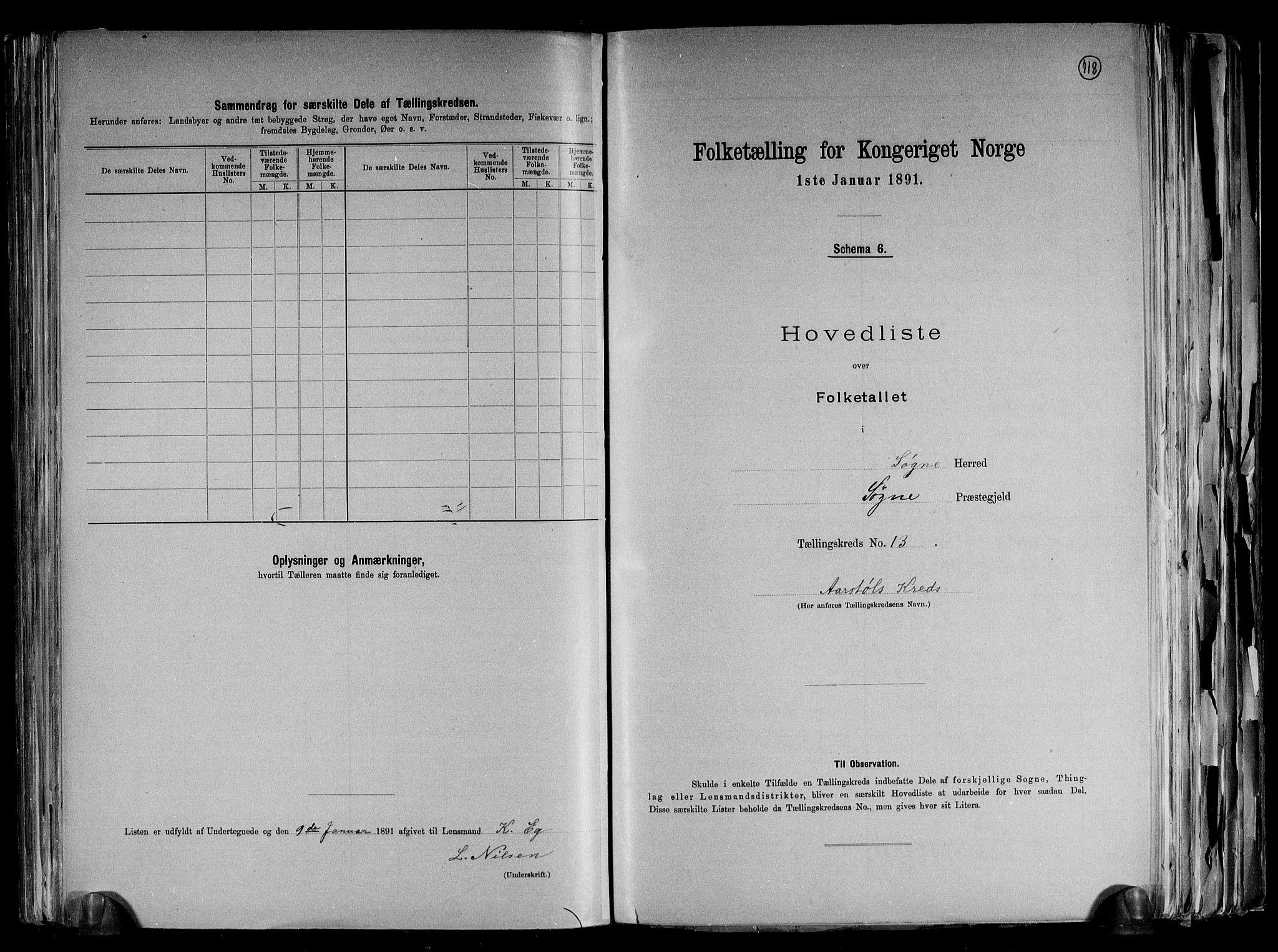 RA, Folketelling 1891 for 1018 Søgne herred, 1891, s. 34