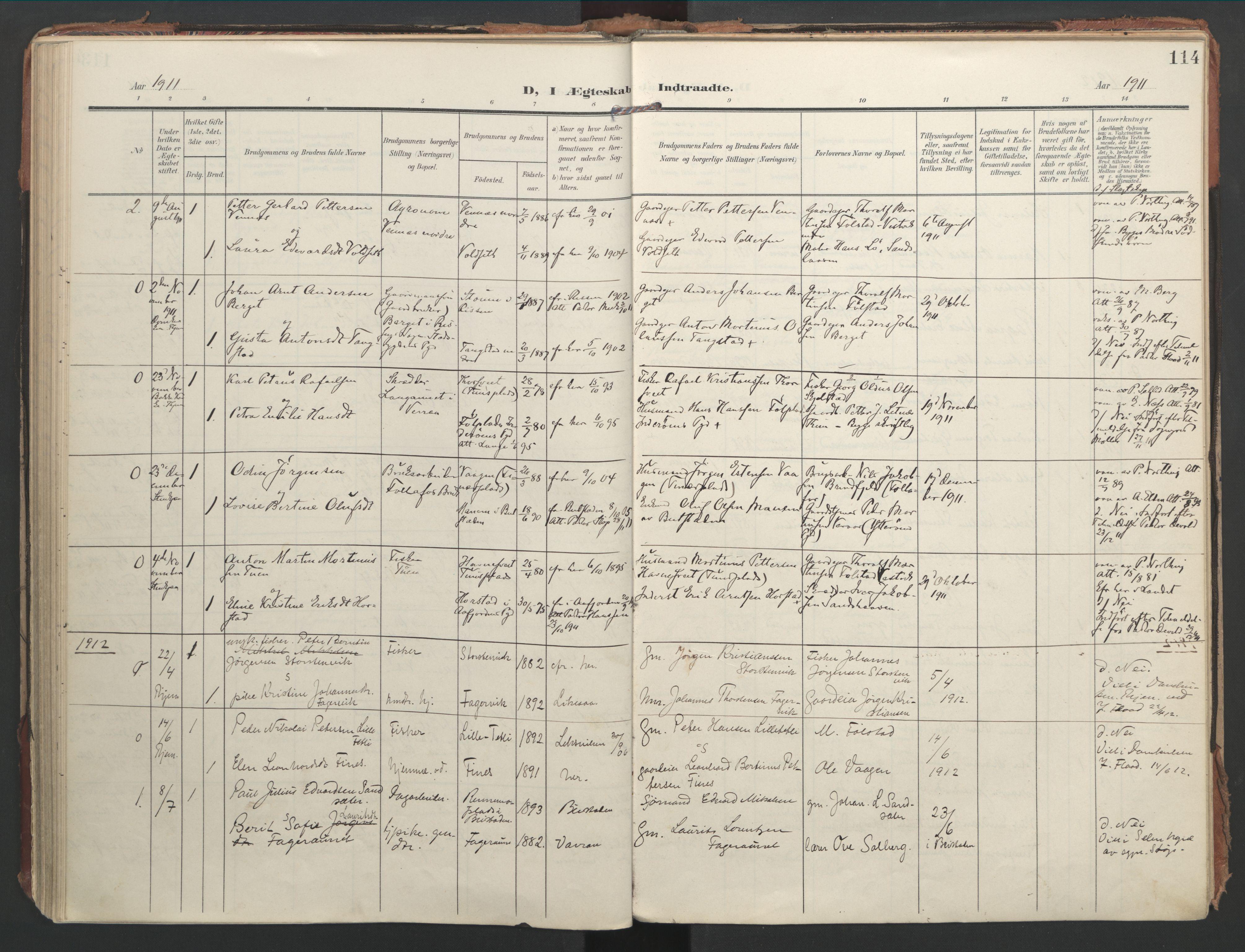 SAT, Ministerialprotokoller, klokkerbøker og fødselsregistre - Nord-Trøndelag, 744/L0421: Ministerialbok nr. 744A05, 1905-1930, s. 114