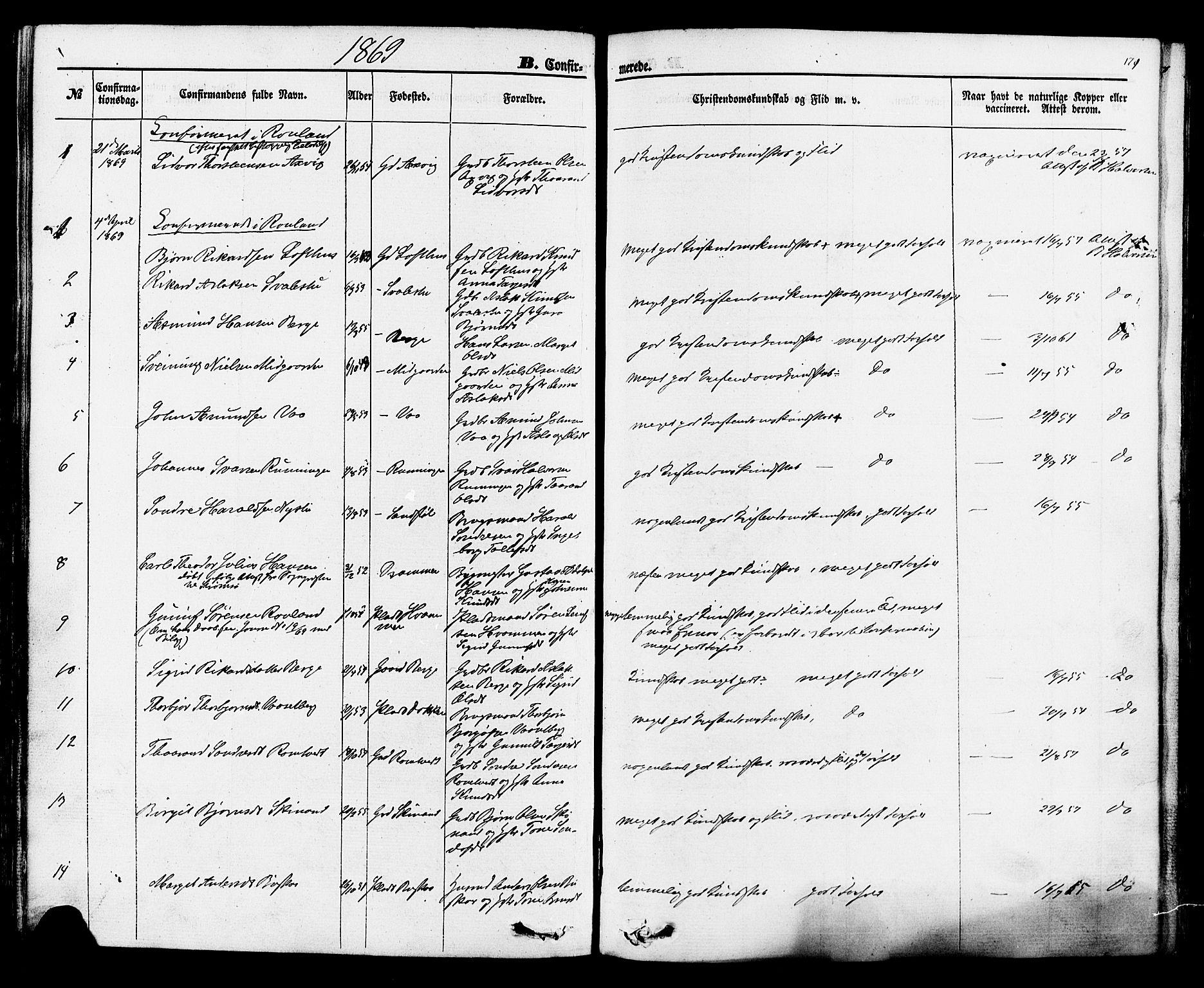 SAKO, Rauland kirkebøker, F/Fa/L0003: Ministerialbok nr. 3, 1859-1886, s. 171