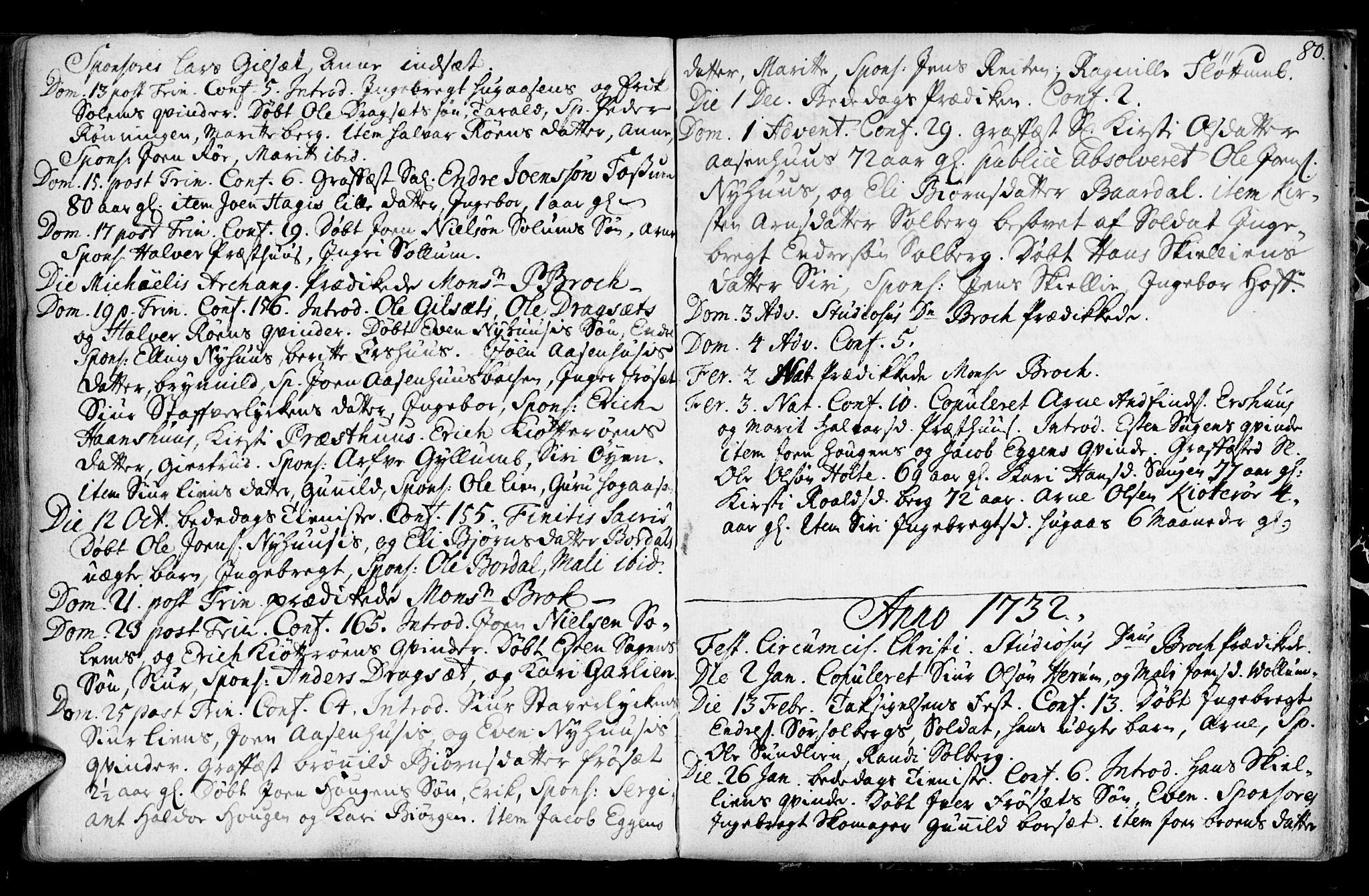 SAT, Ministerialprotokoller, klokkerbøker og fødselsregistre - Sør-Trøndelag, 689/L1036: Ministerialbok nr. 689A01, 1696-1746, s. 80