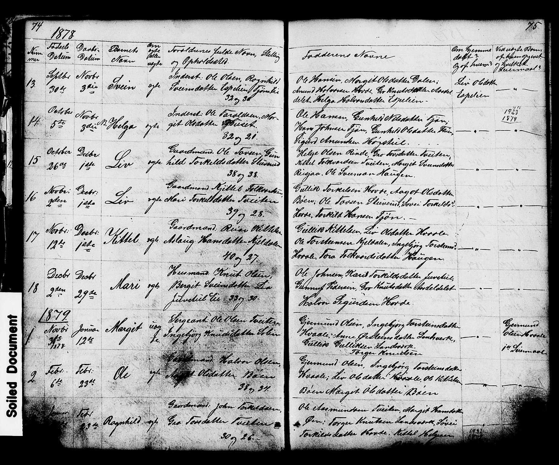 SAKO, Hjartdal kirkebøker, G/Gc/L0002: Klokkerbok nr. III 2, 1854-1890, s. 74-75
