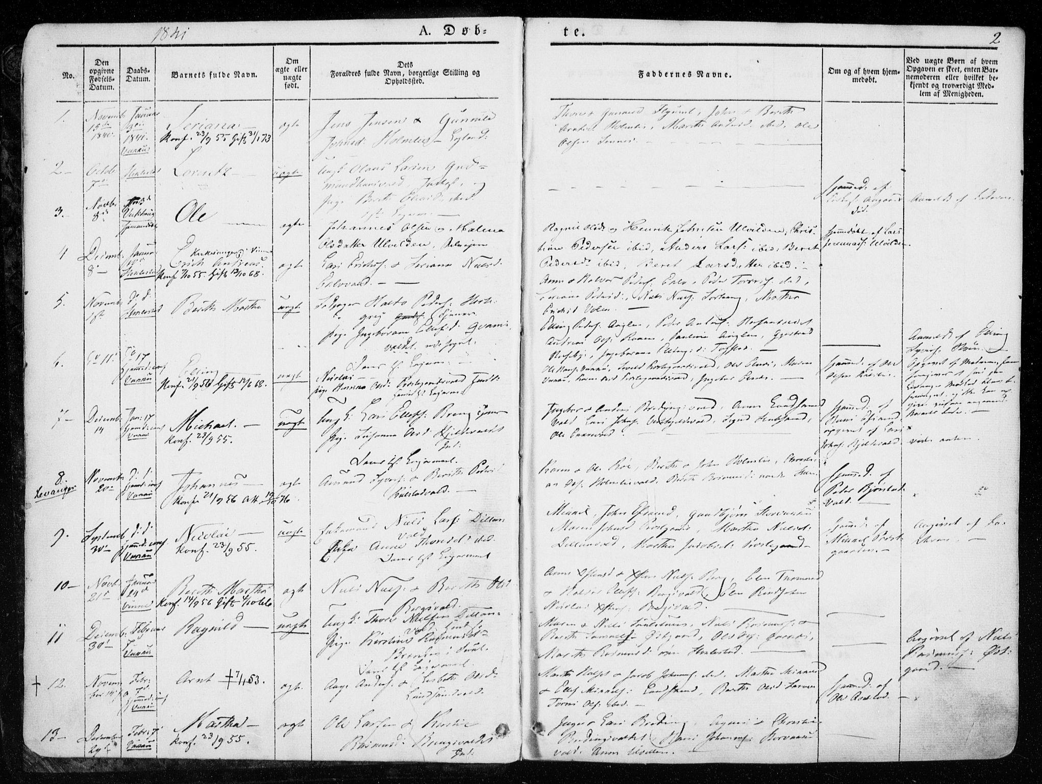 SAT, Ministerialprotokoller, klokkerbøker og fødselsregistre - Nord-Trøndelag, 723/L0239: Ministerialbok nr. 723A08, 1841-1851, s. 2