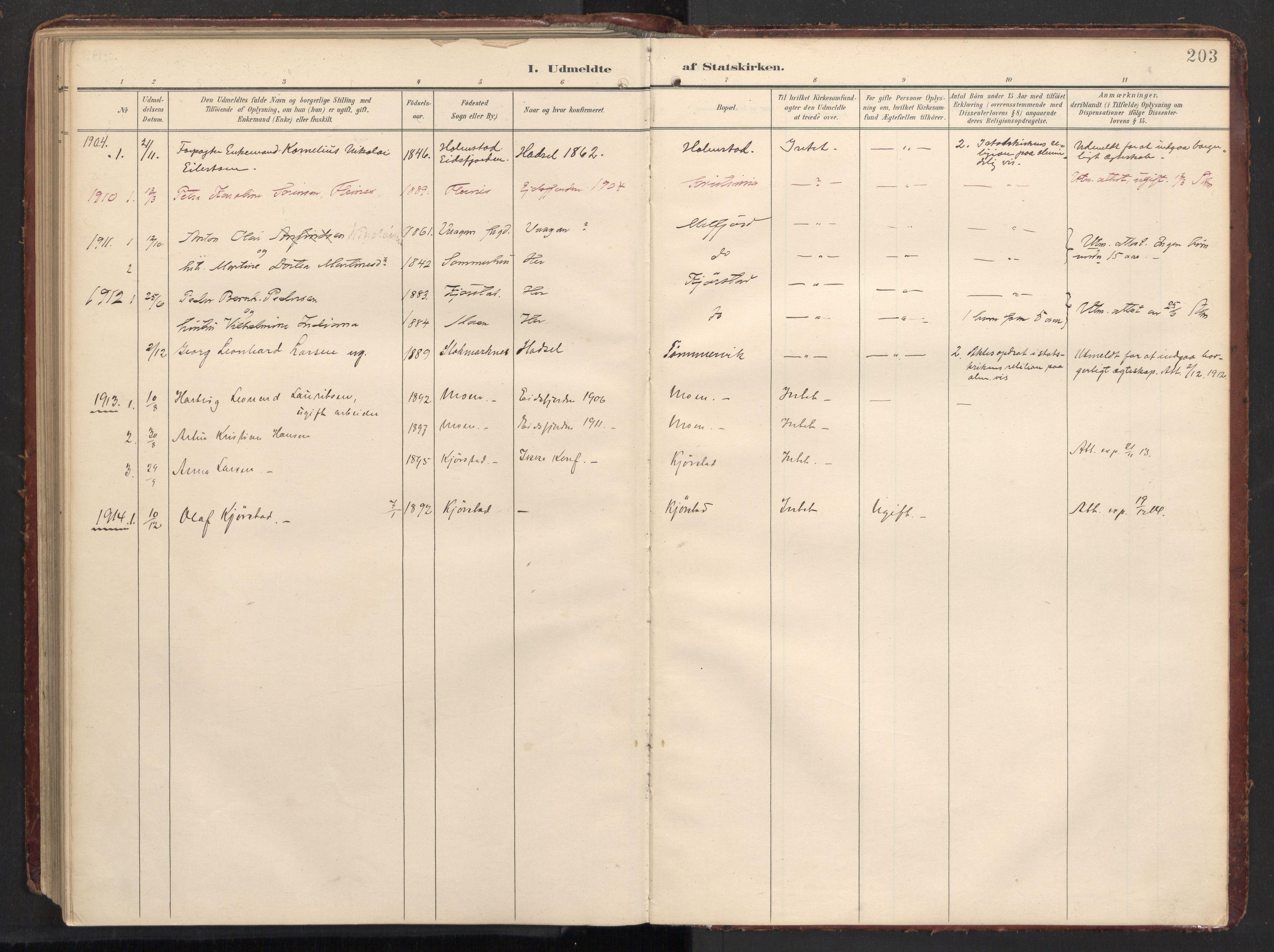 SAT, Ministerialprotokoller, klokkerbøker og fødselsregistre - Nordland, 890/L1287: Ministerialbok nr. 890A02, 1903-1915, s. 203