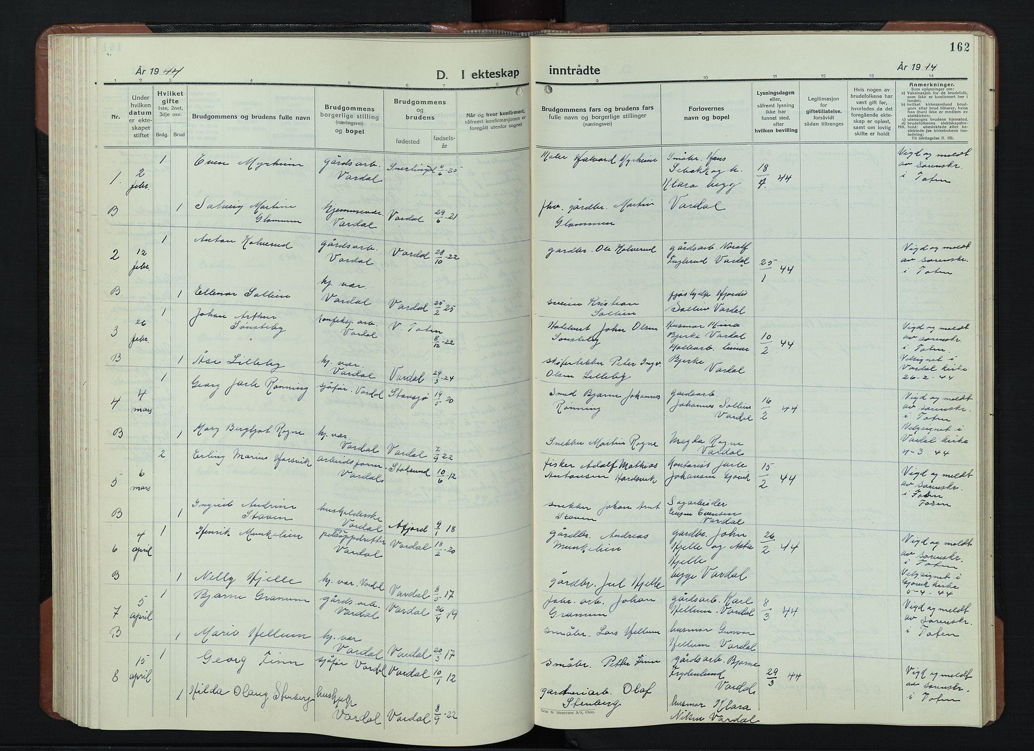SAH, Vardal prestekontor, H/Ha/Hab/L0018: Klokkerbok nr. 18, 1931-1951, s. 162