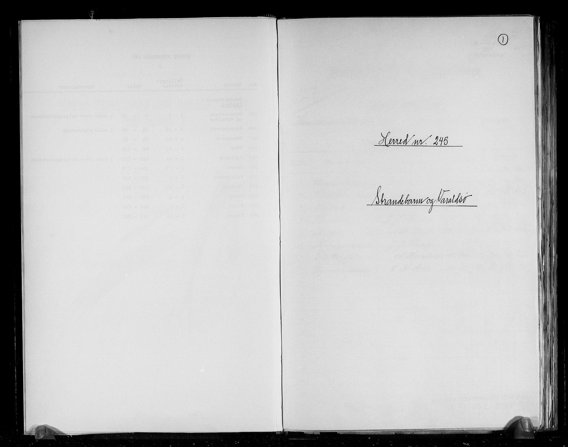 RA, Folketelling 1891 for 1226 Strandebarm og Varaldsøy herred, 1891, s. 1
