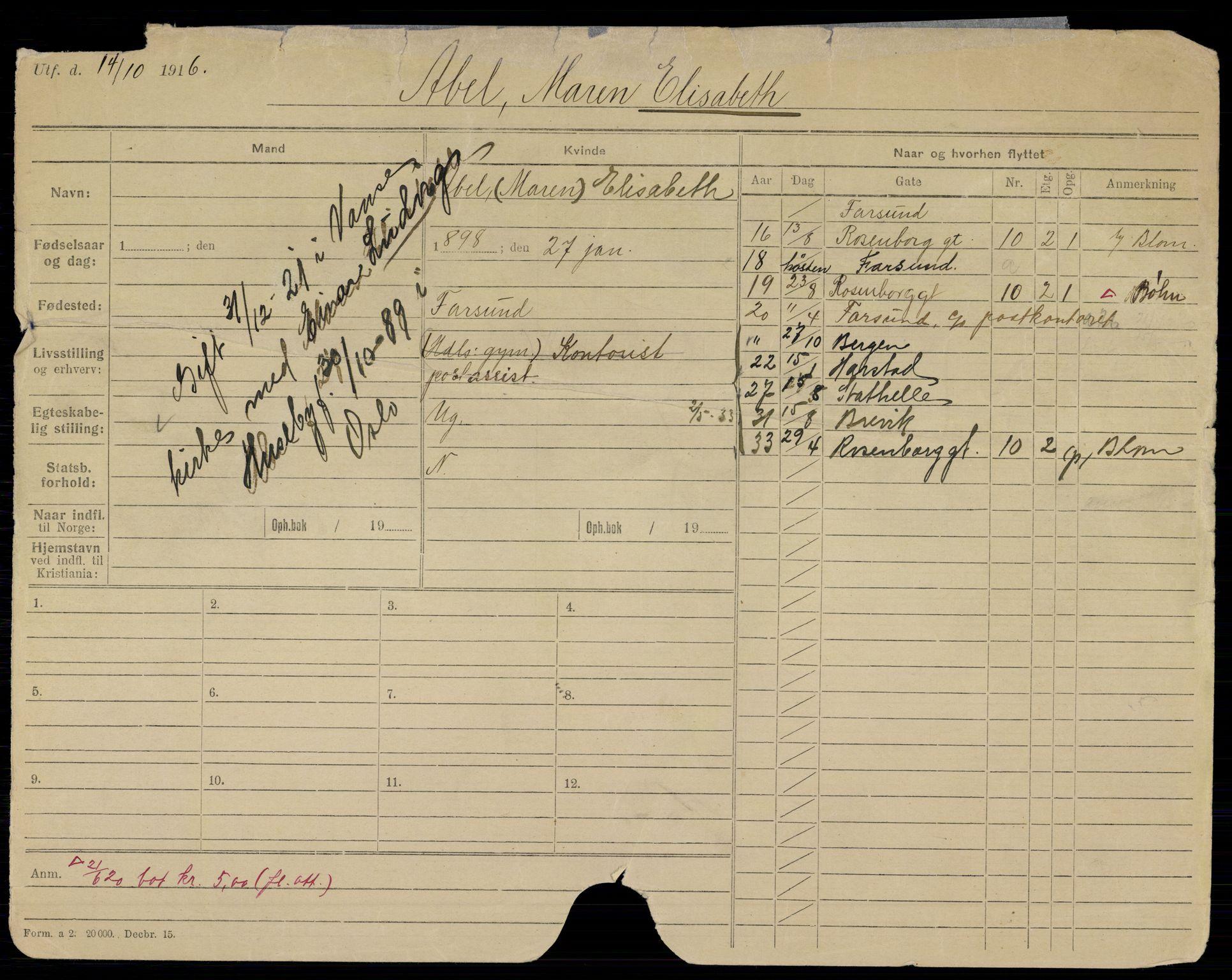 SAO, Oslo folkeregister, Registerkort, K/Kb/L0041: A- HAN, 1921