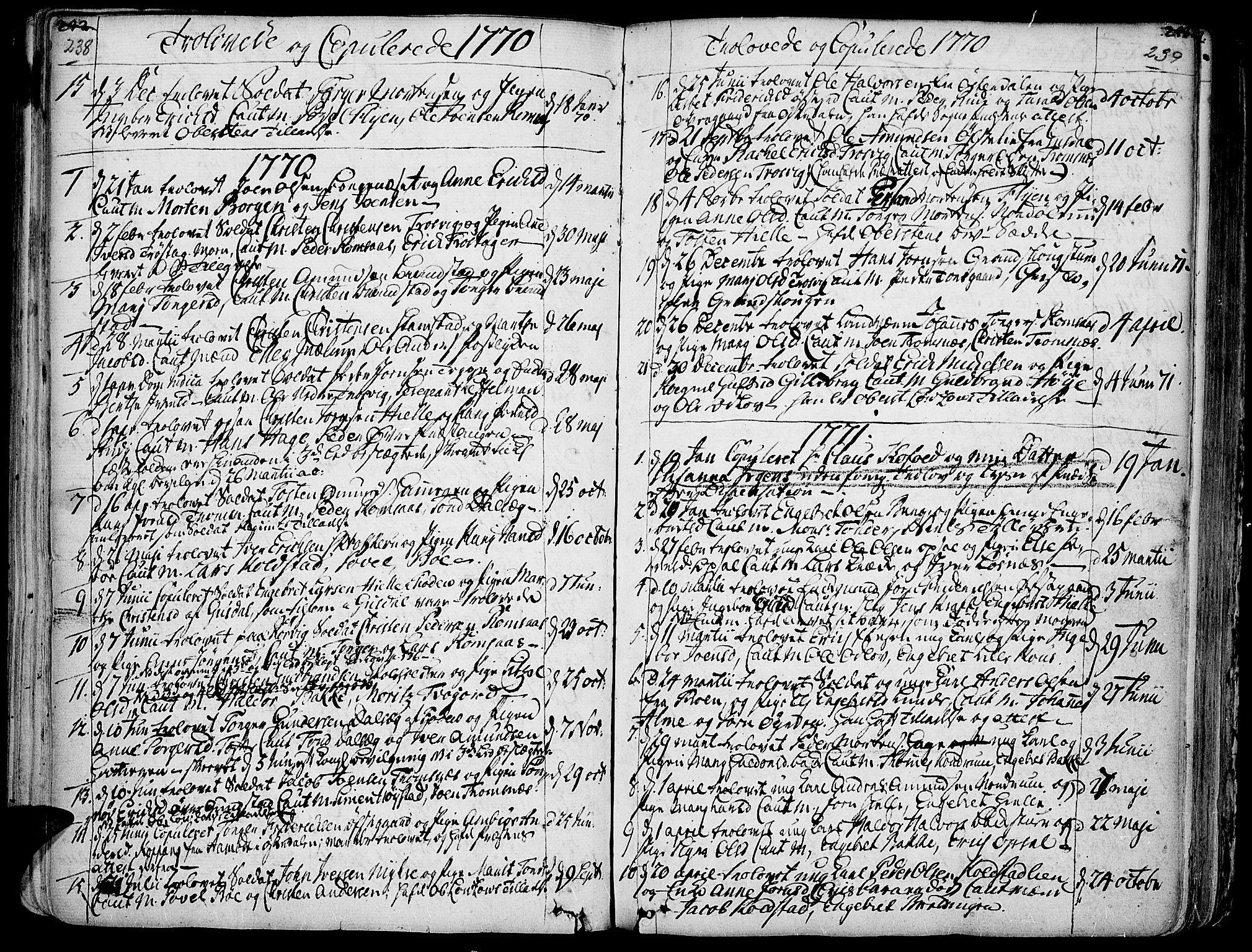 SAH, Ringebu prestekontor, Ministerialbok nr. 2, 1734-1780, s. 238-239