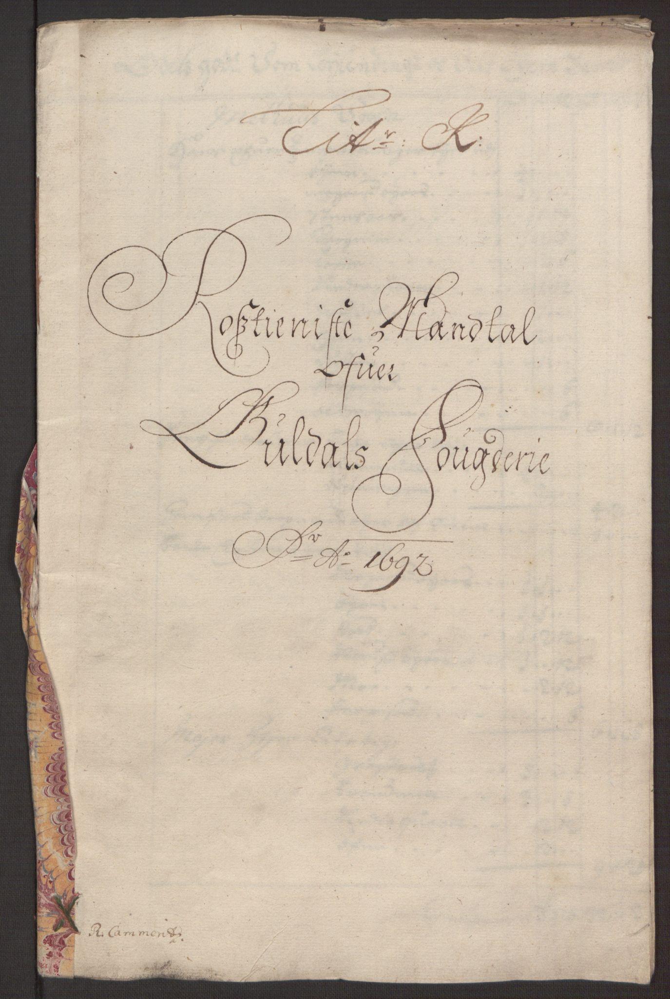 RA, Rentekammeret inntil 1814, Reviderte regnskaper, Fogderegnskap, R59/L3942: Fogderegnskap Gauldal, 1692, s. 149