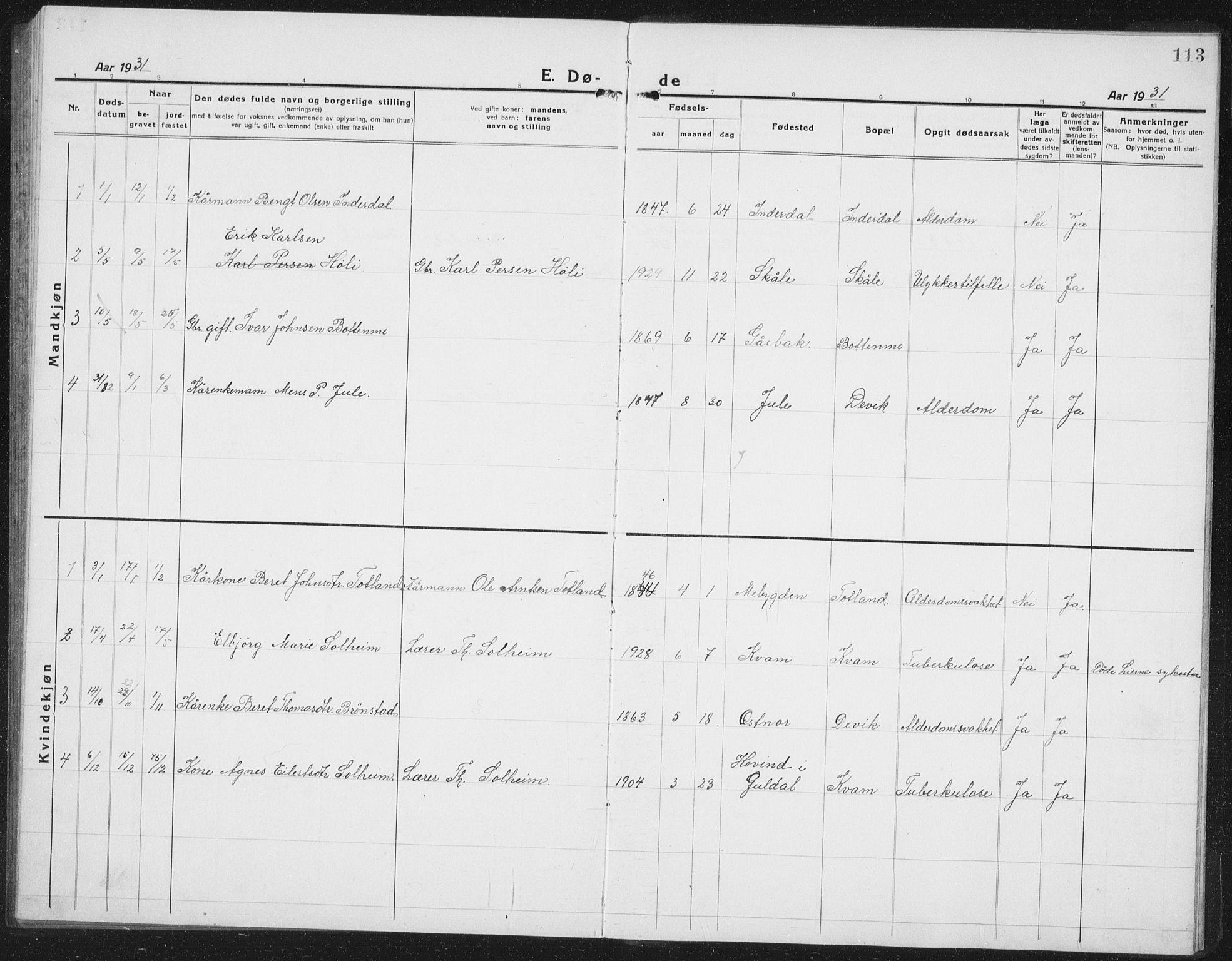 SAT, Ministerialprotokoller, klokkerbøker og fødselsregistre - Nord-Trøndelag, 757/L0507: Klokkerbok nr. 757C02, 1923-1939, s. 113