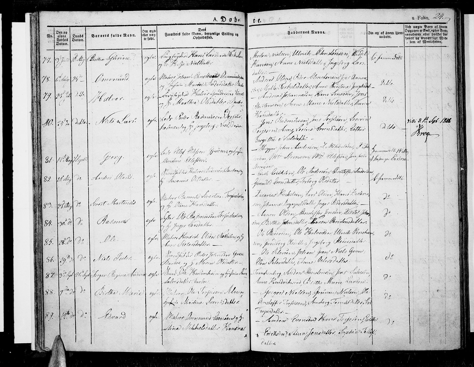 SAK, Tromøy sokneprestkontor, F/Fa/L0003: Ministerialbok nr. A 3, 1825-1837, s. 24