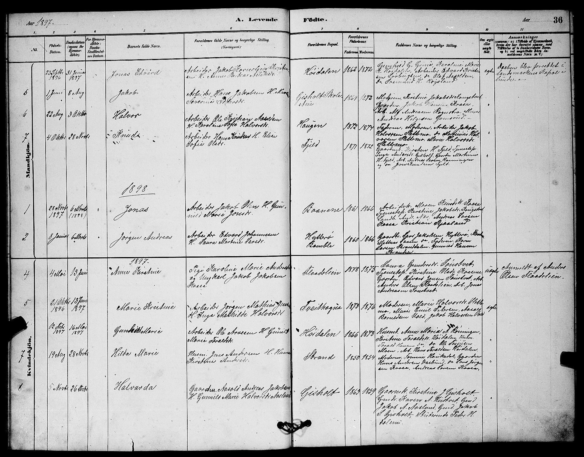 SAKO, Solum kirkebøker, G/Gc/L0001: Klokkerbok nr. III 1, 1880-1902, s. 36