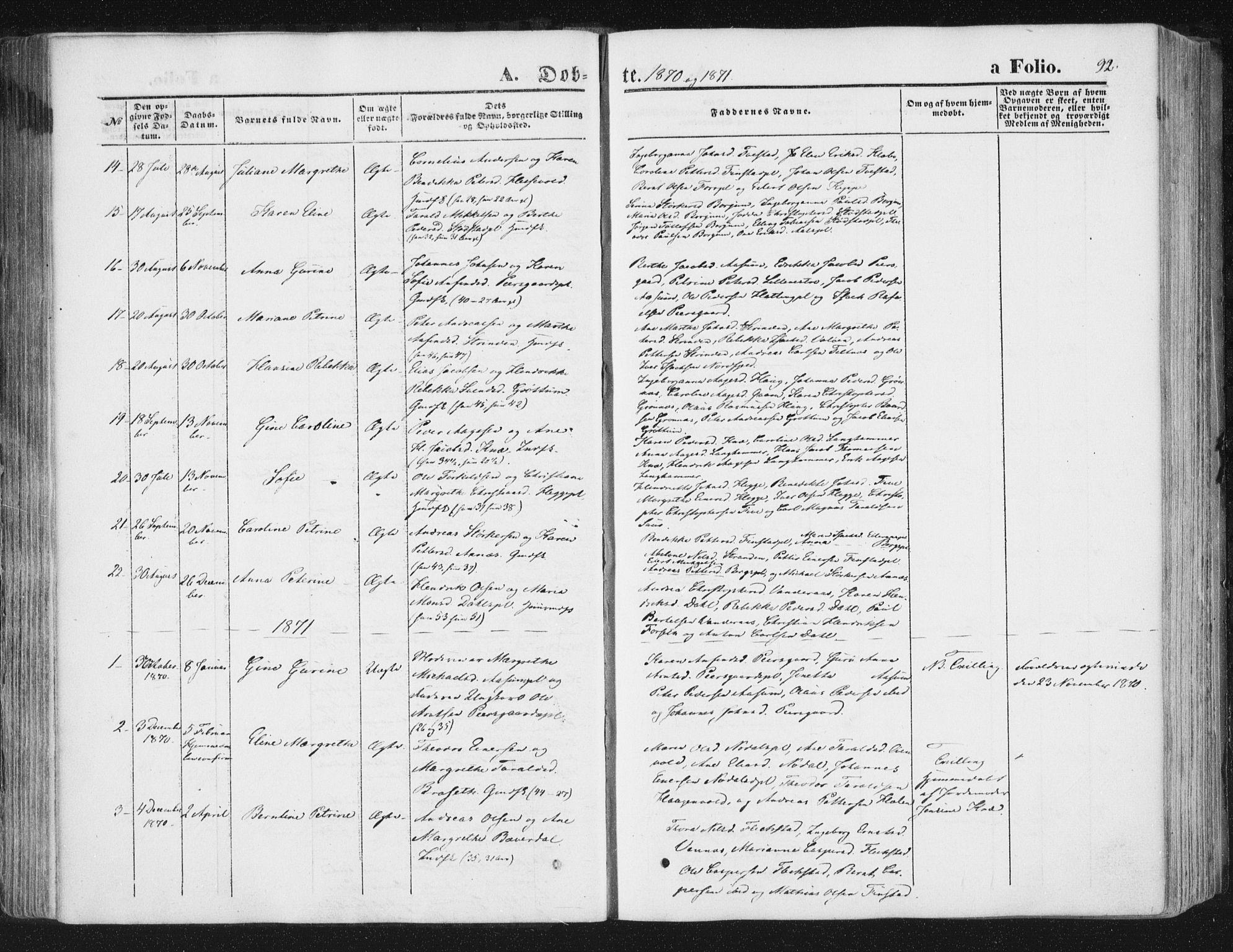 SAT, Ministerialprotokoller, klokkerbøker og fødselsregistre - Nord-Trøndelag, 746/L0447: Ministerialbok nr. 746A06, 1860-1877, s. 92