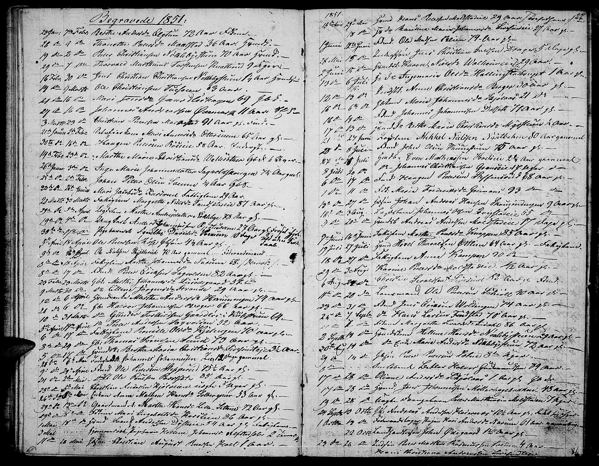 SAH, Vestre Toten prestekontor, Klokkerbok nr. 4, 1851-1853, s. 27