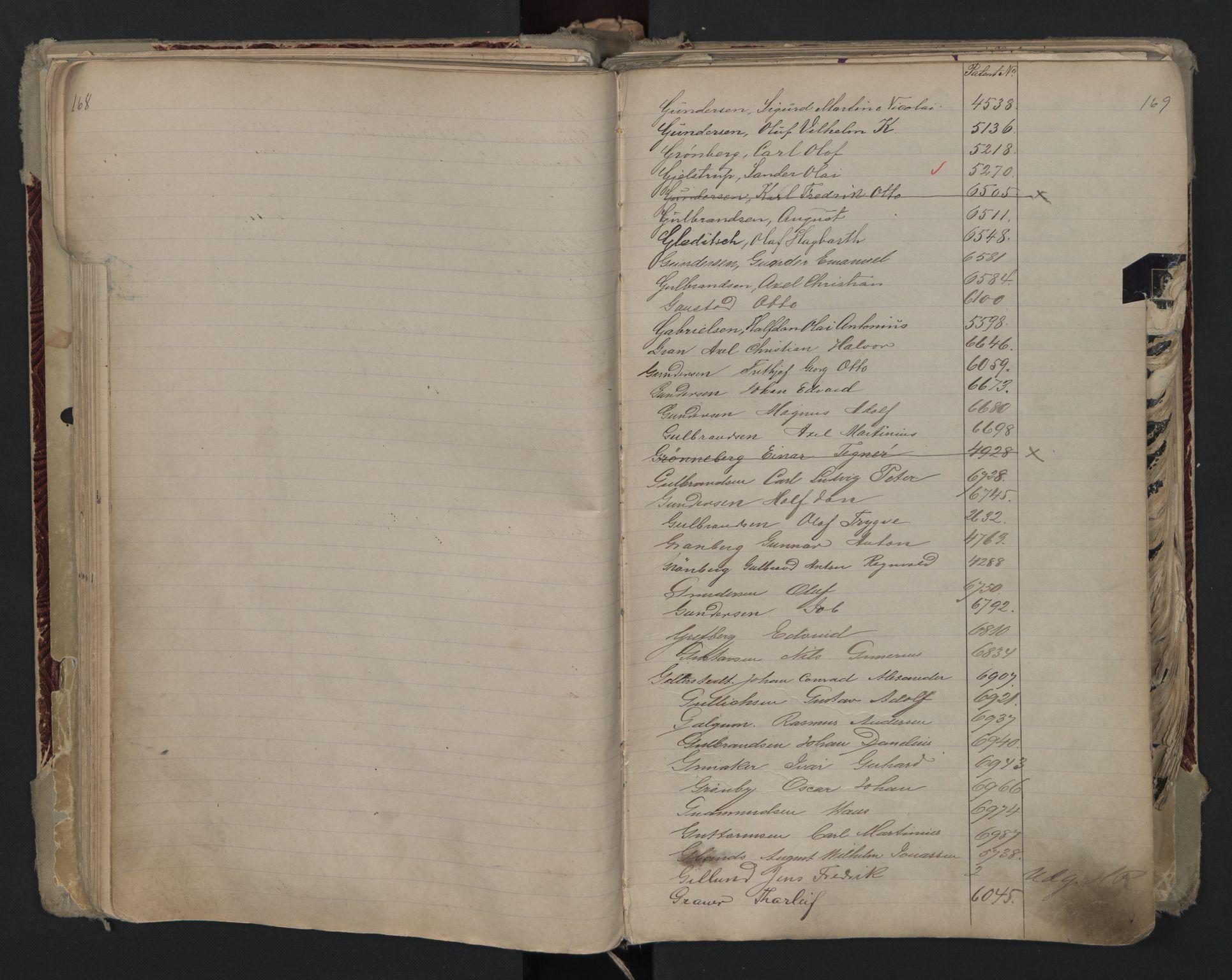 SAO, Oslo sjømannskontor, F/Fa/L0002: Register for Kristiania krets, 1866-1930, s. 168-169